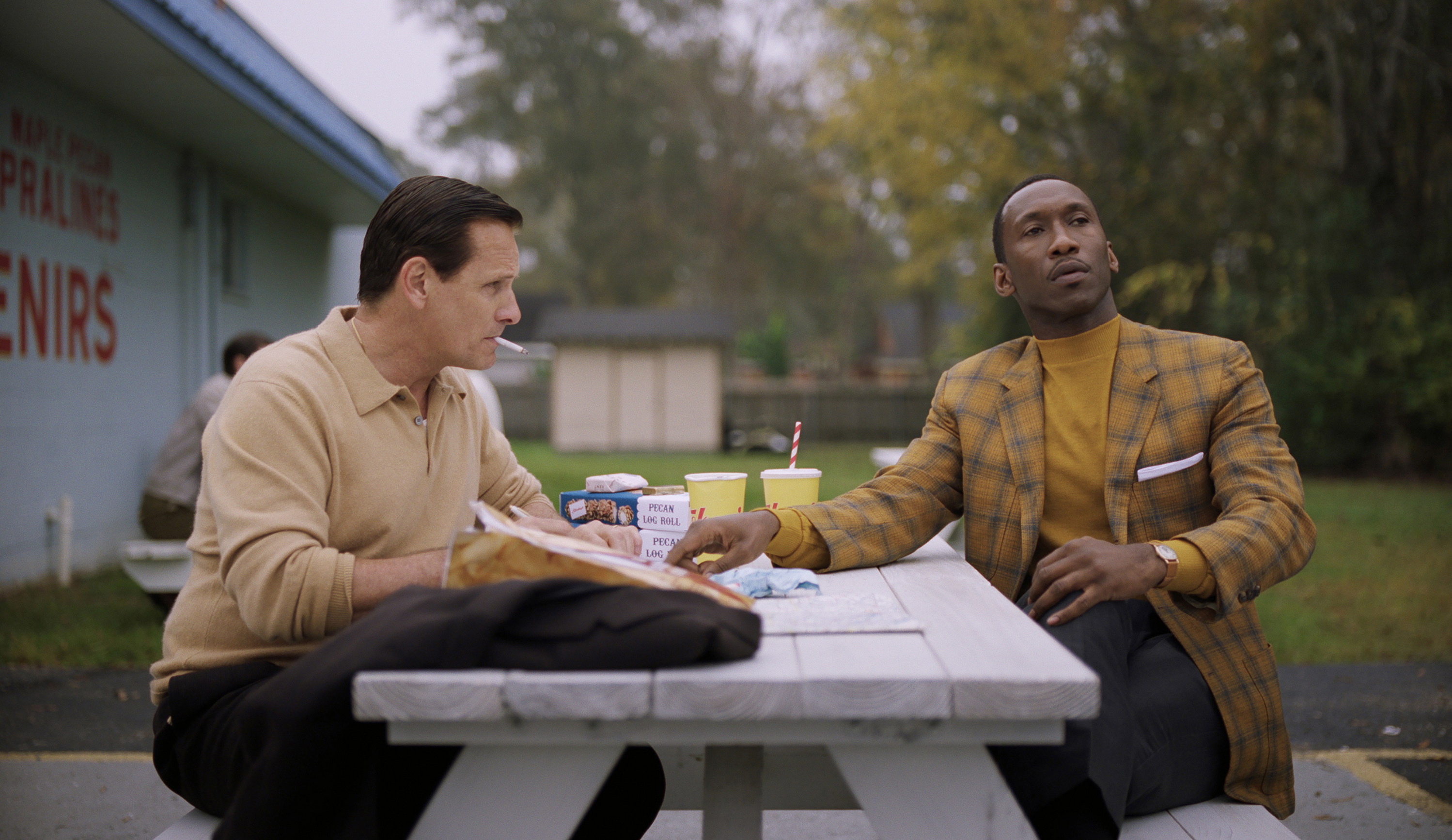 Viggo Mortensen as Tony Vallelonga and Mahershala Ali as Donald Shirley in Green Book, directed by Peter Farrelly.