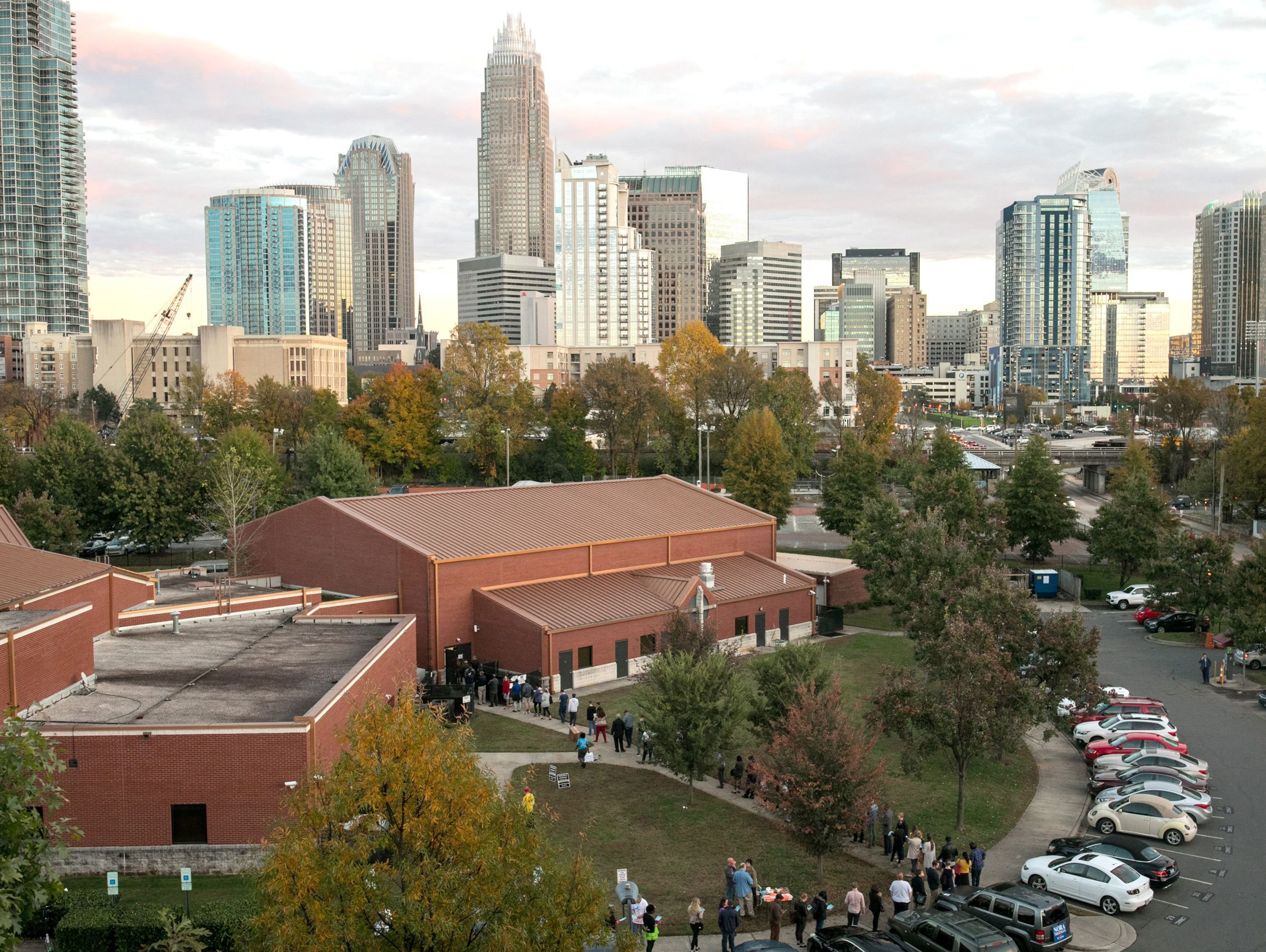 Voters line up outside Greater Mount Moriah Baptist Church in Charlotte, N.C.