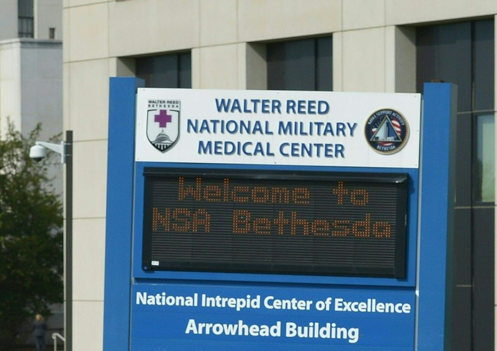 A welcome sign at Walter Reed National Military Medical Center in Bethesda, Maryland.                       On Nov. 27, 2018 it was reported that police are investigating a possible active shooter at the Walter Reed Military hospital.
