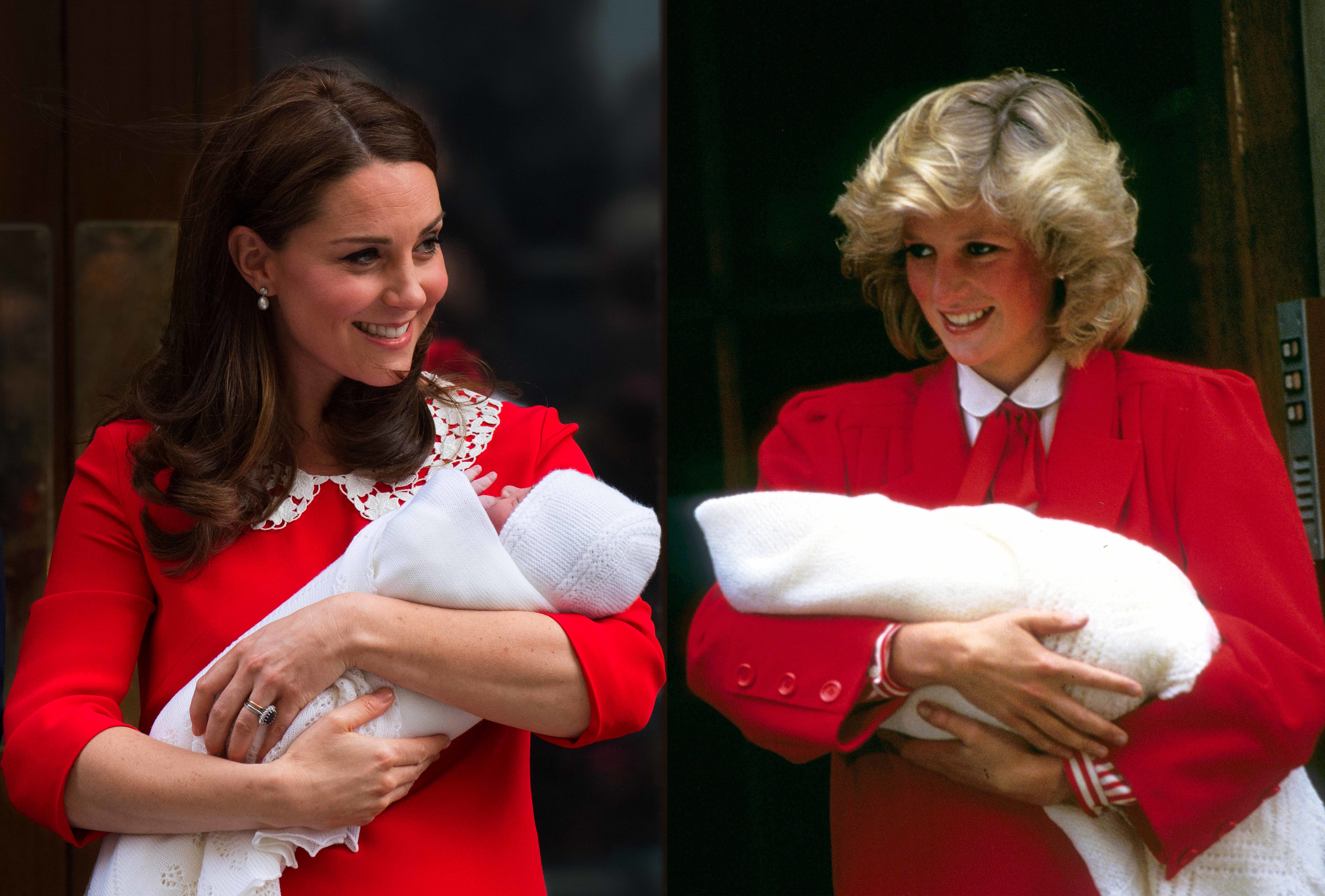 In this photo composite a comparison has been made between Catherine, Duchess of Cambridge carrying her newborn son and Diana, Princess of Wales carrying her newborn son Prince Harry (R) both leaving the Lindo Wing of St Mary's hospital. ***LEFT IMAGE*** Editorial # 950804602 LONDON, UNITED KINGDOM - APRIL 23: Catherine, Duchess of Cambridge carries her newborn son as she leaves the Lindo Wing of St Mary's hospital on April 23, 2018 in London, England. (Photo by Anwar Hussein/WireImage) RIGHT IMAGE*** Editorial # 909562840 LONDON, UNITED KINGDOM - SEPTEMBER 17: Diana, Princess of Wales leaves the Lindo Wing, St Mary's Hospital with baby Prince Harry on September 17, 1984 in London, England. (Photo by Anwar Hussein/Getty Images)
