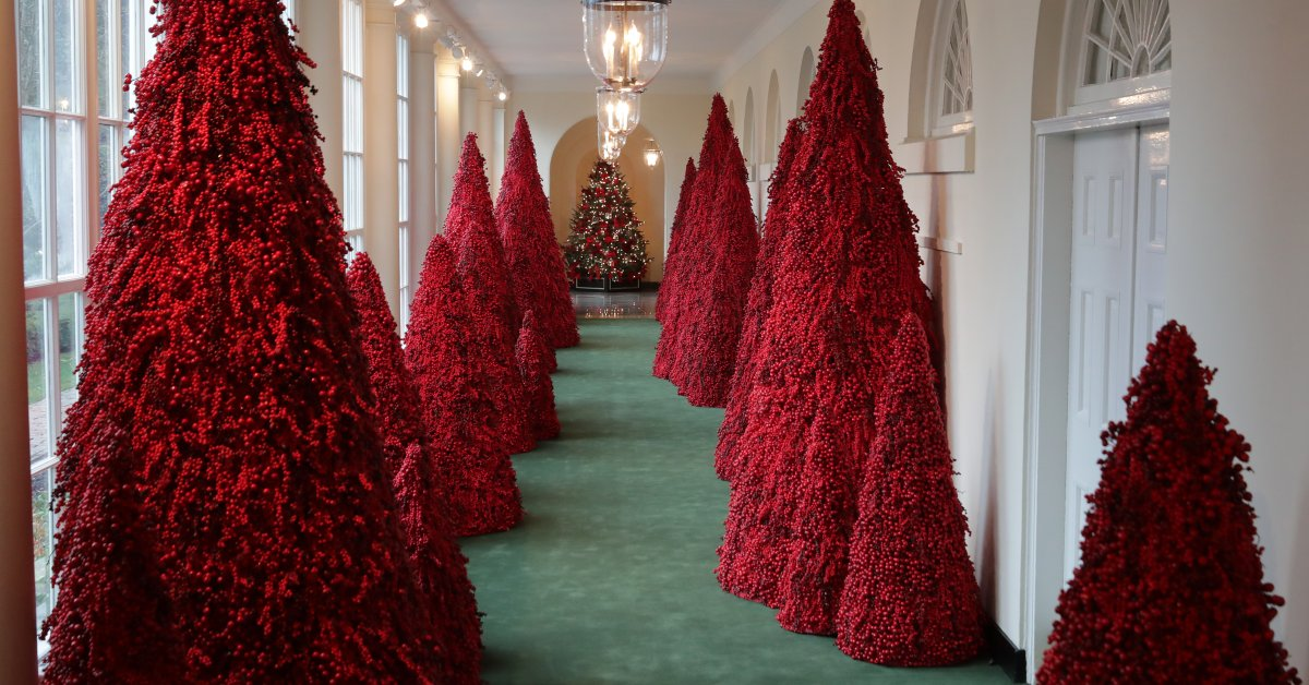 White House Red Christmas Trees Shining 2020 Melania Trump's Red Christmas Trees Become Memes | Time