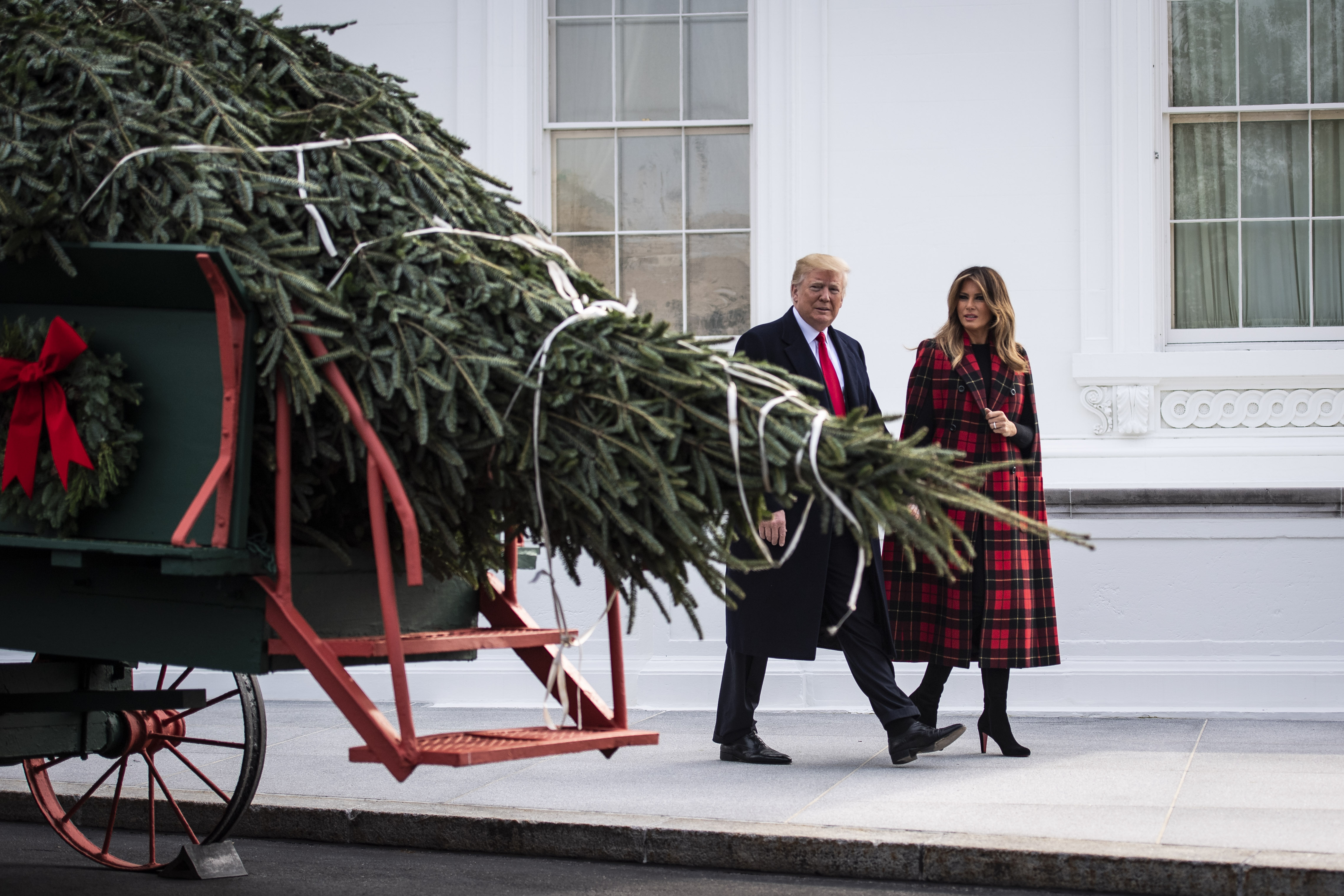 President Donald J. Trump and first lady Melania Trump view the arrival of the White House Christmas tree at the North Portico of the White House on Monday, Nov. 19, 2018 in Washington, DC. (Photo by Jabin Botsford/The Washington Post via Getty Images)