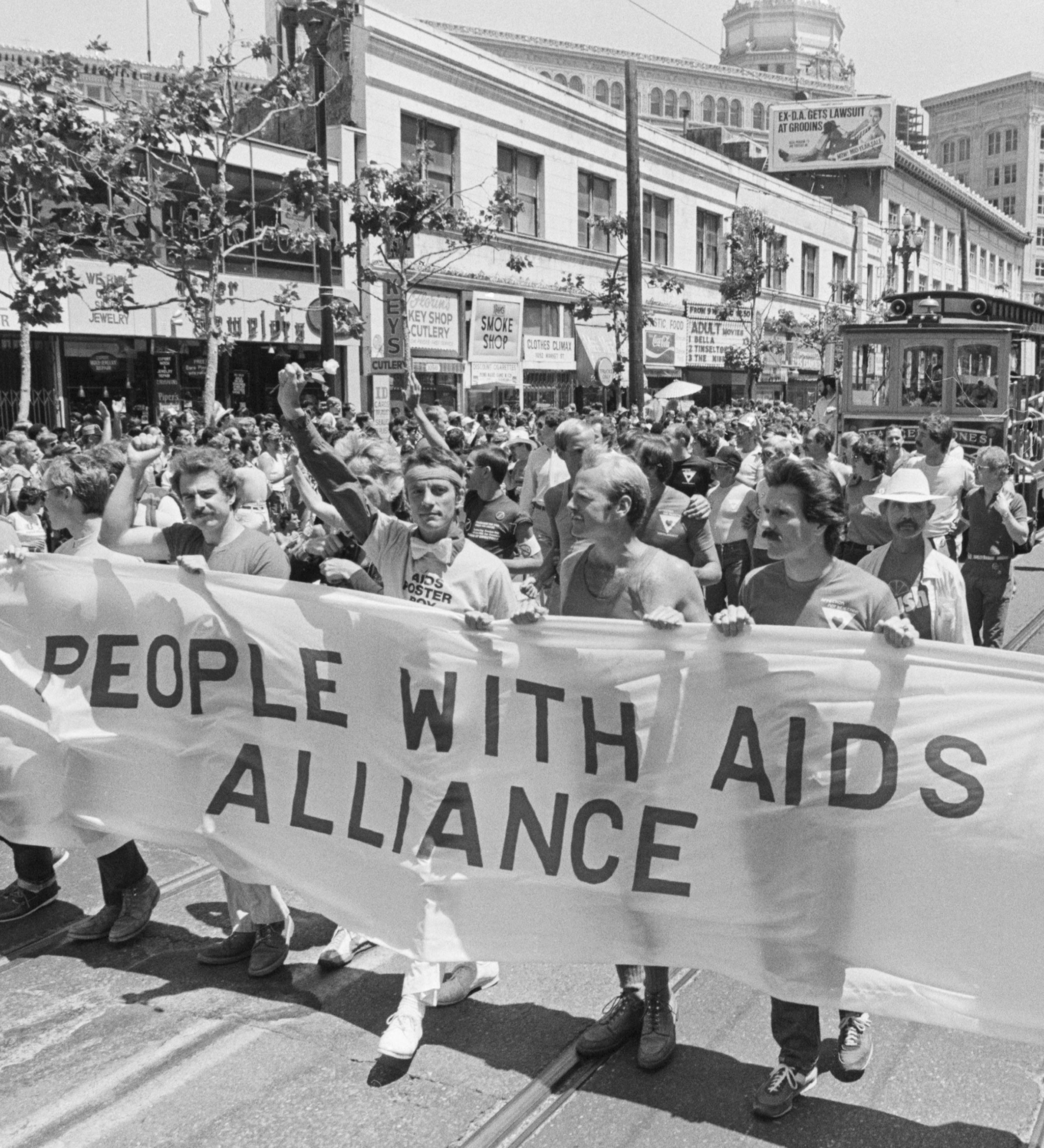 Members of the 'People With AIDS' coalition march in the San Francisco pride parade on June 26, 1983.