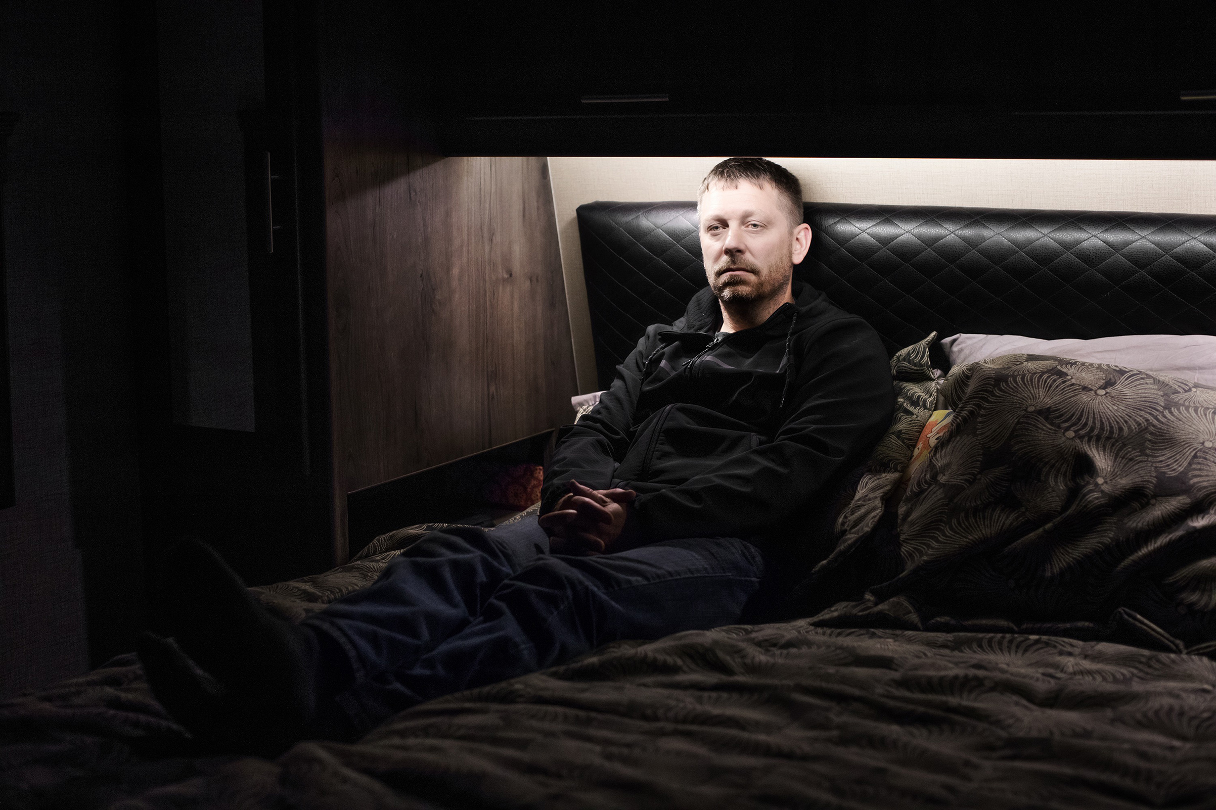 Brown, pictured in an RV where his family stayed after the fire