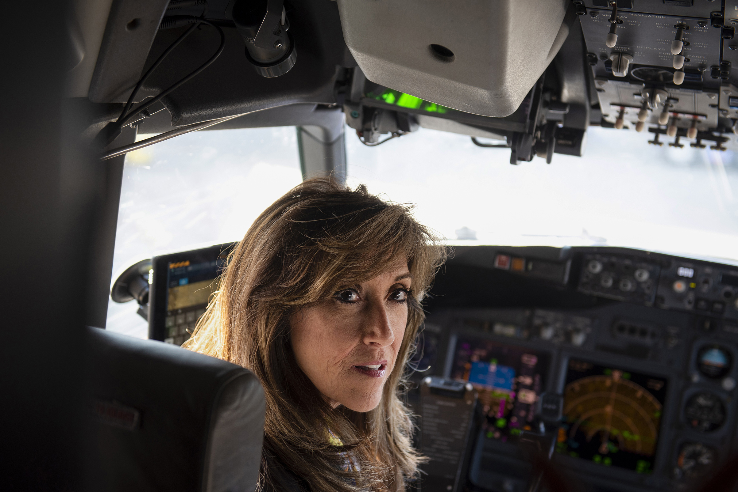 Pilot Tammie Jo Shults in the cockpit of an airplane on Aug. 1, 2018 at the San Antonio International Airport