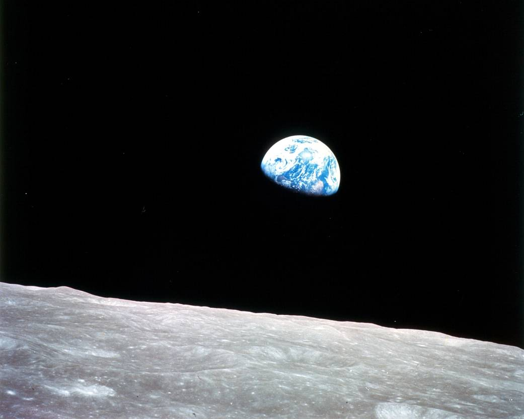 Blue marble: The home planet as seen from lunar orbit, Christmas Eve, 1968