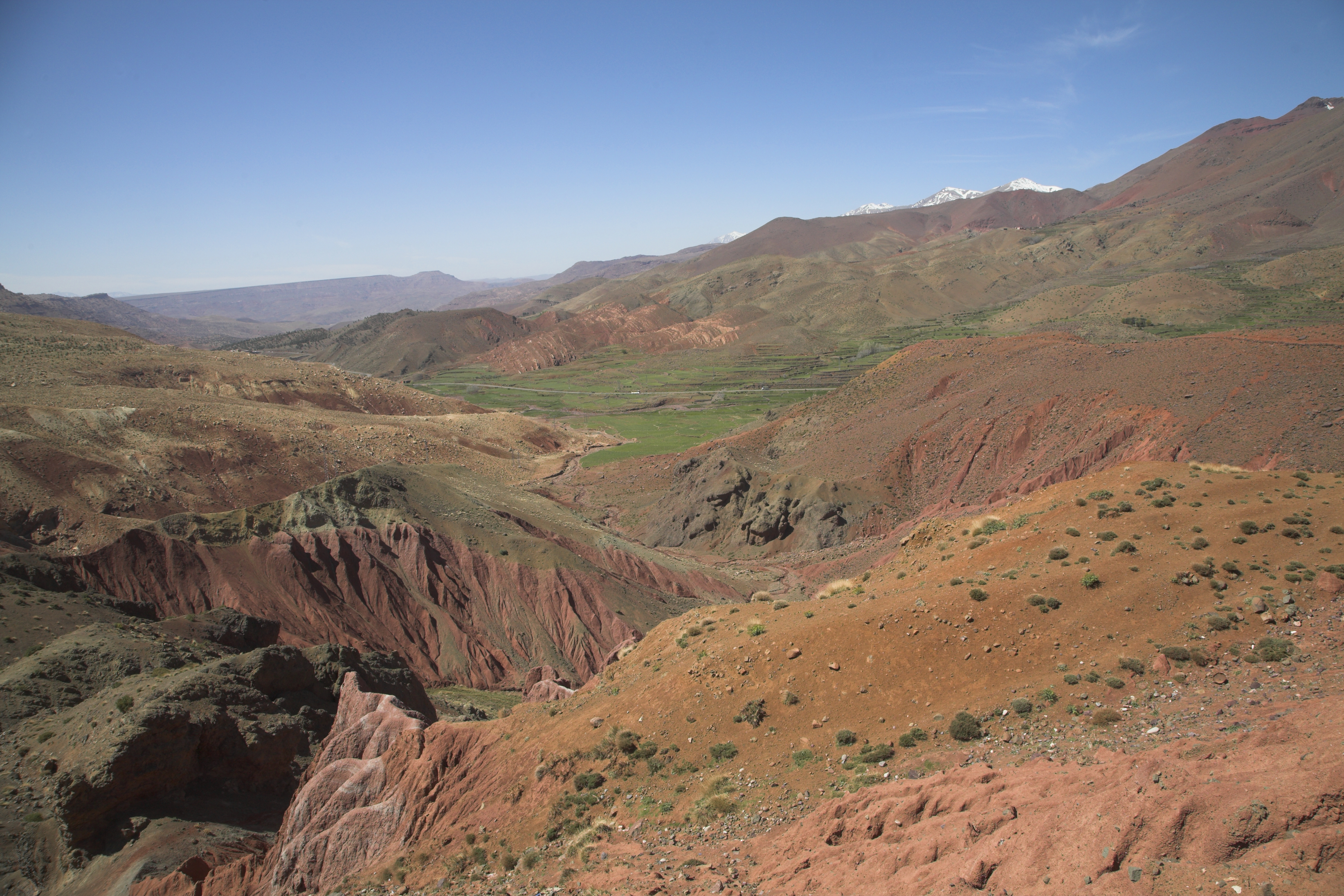 Morocco's High Atlas Mountains are seen with the Jebel Toubkal range in the distance.