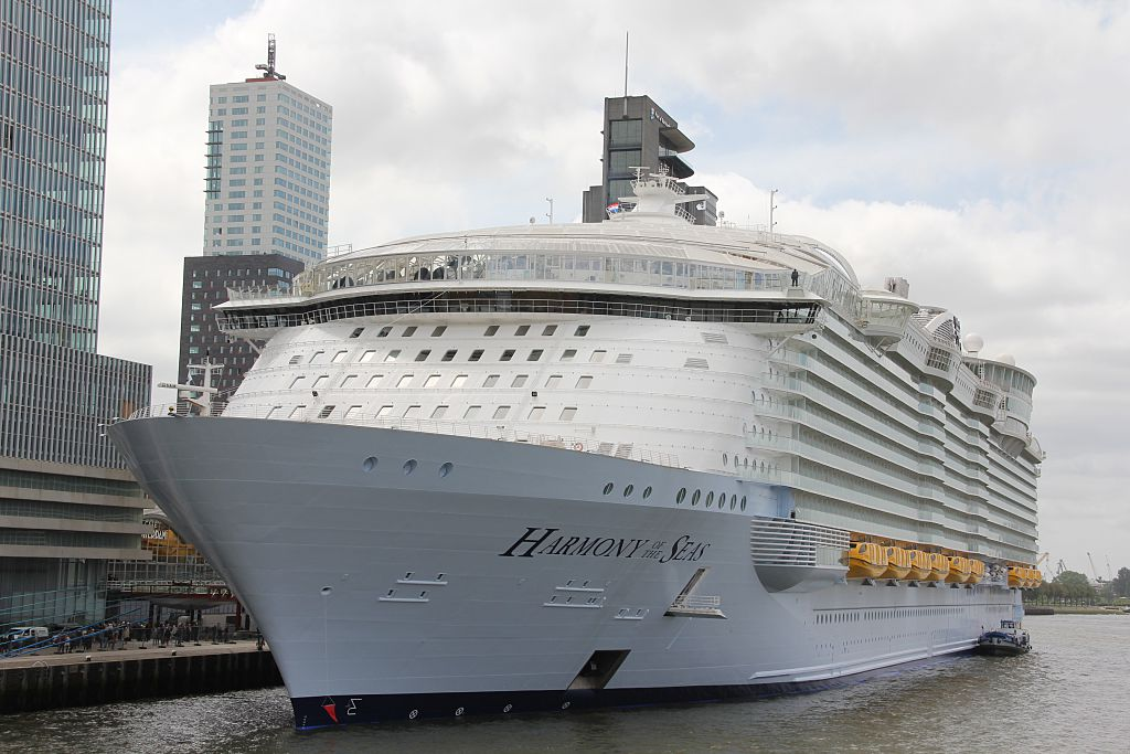 World's largest passenger ship  Harmony of the Seas  anchors at the Rotterdam Harbor in Rotterdam, Netherlands on May 24, 2016.