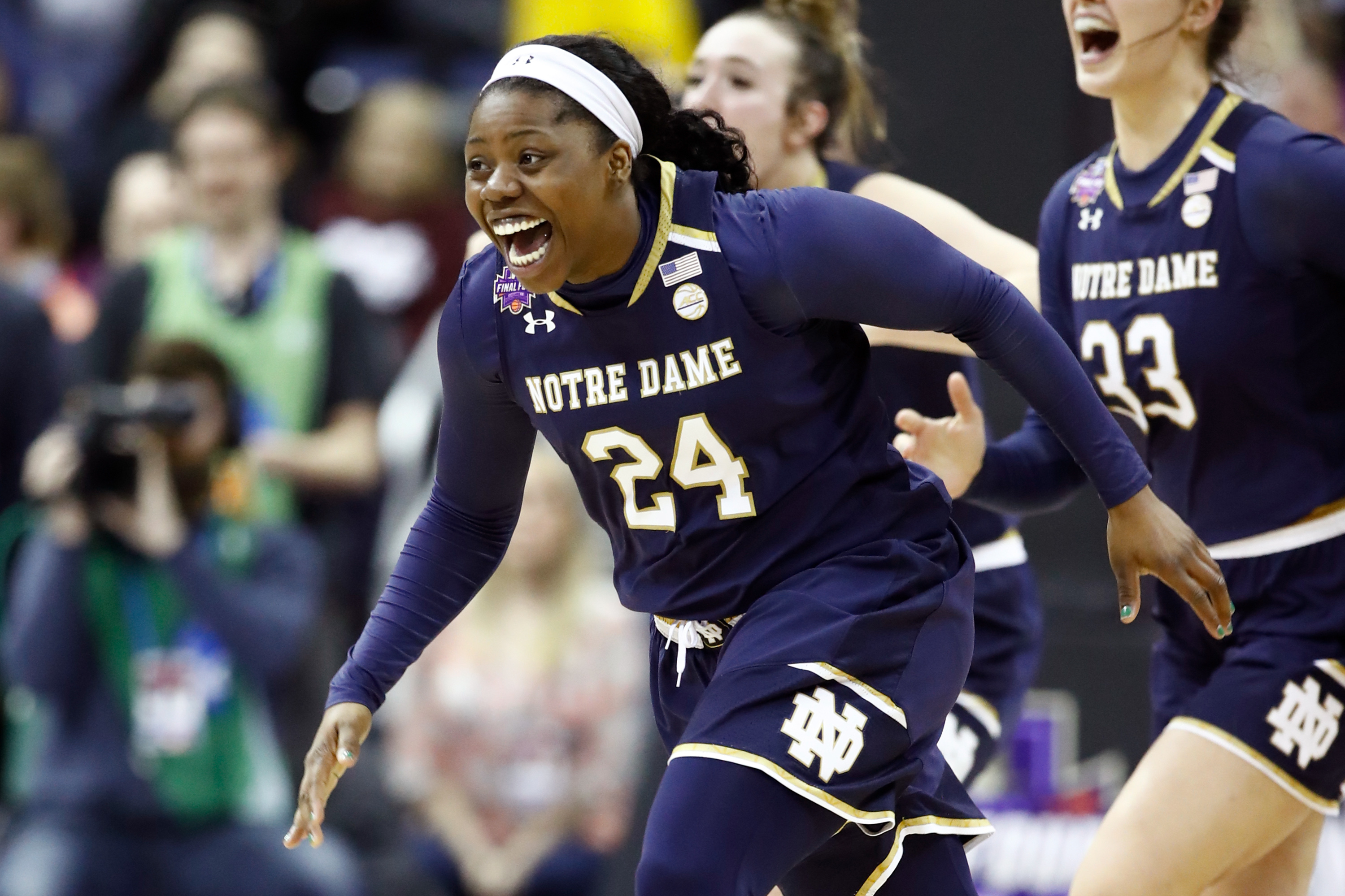 Arike Ogunbowale #24 of the Notre Dame Fighting Irish celebrates after scoring the game winning basket with 0.1 seconds remaining in the fourth quarter to defeat the Mississippi State Lady Bulldogs in the championship game of the 2018 NCAA Women's Final Four at Nationwide Arena on April 1, 2018 in Columbus, Ohio.
