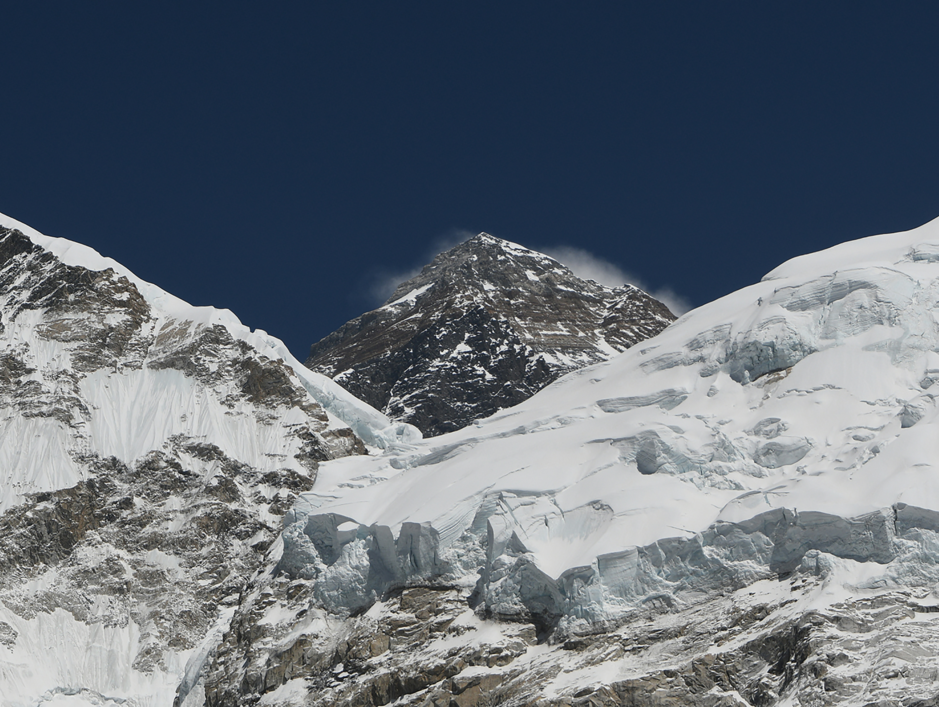 In this photograph taken on April 21, 2018, Mount Everest (height 8848 metres) is seen in the Everest region some 140 km northeast of the Nepali capital Kathmandu.