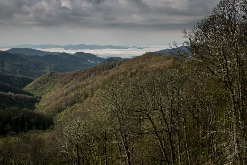 he mountains looking southwest along the Tennessee border is viewed from the top of a ridge near the Appalachian Trail on May 11, 2018 near Cherokee, North Carolina.