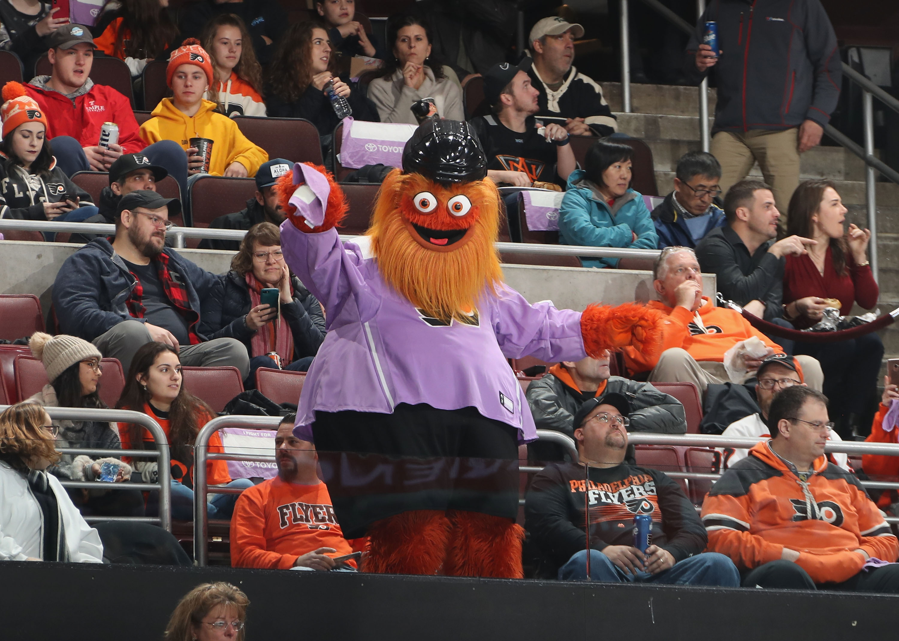The Philadelphia Flyers mascot Gritty entertains fans during the game against the Ottawa Senators at the Wells Fargo Center on November 27, 2018 in Philadelphia, Pennsylvania. (Photo by Bruce Bennett/Getty Images)