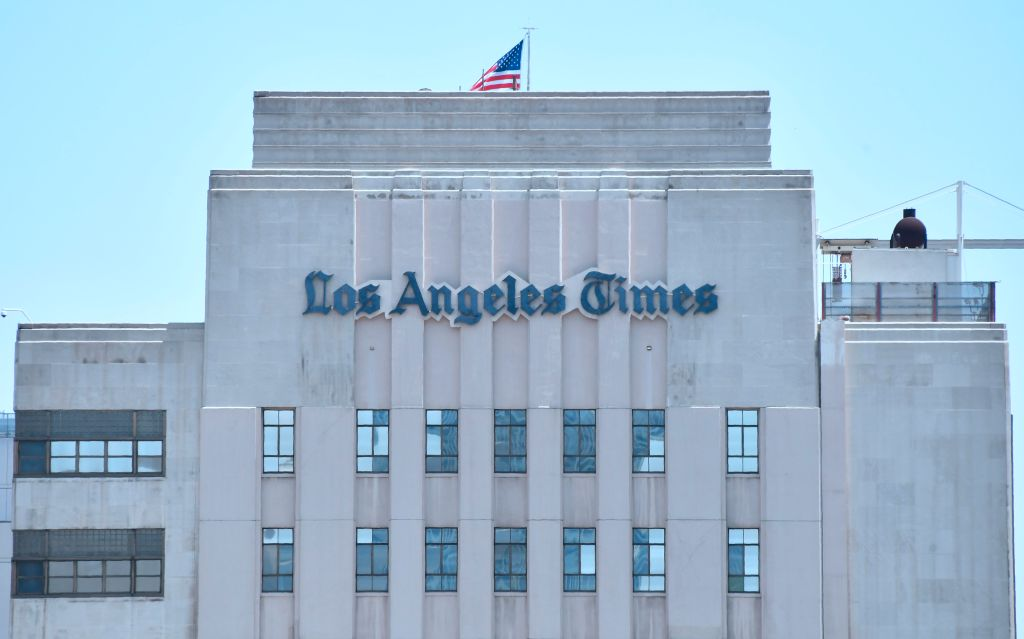 The Los Angeles Times building in downtown Los Angeles, California on July 16, 2018.
