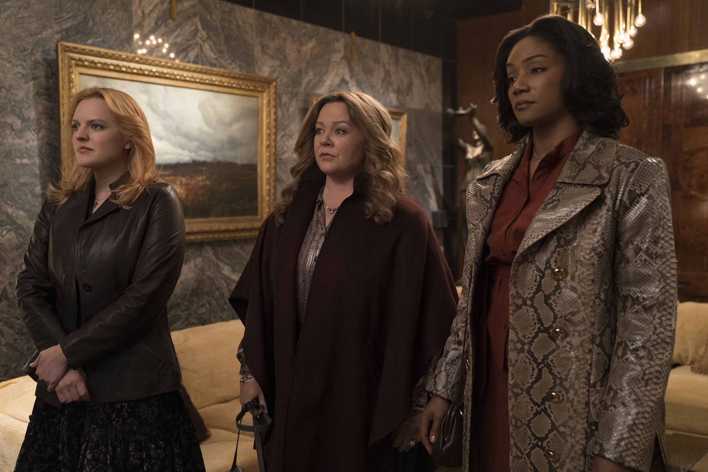 Elisabeth Moss, Melissa McCarthy and Tiffany Haddish in 'The Kitchen.'