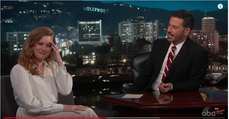 This picture taken from video shows Jimmy Kimmel interviewing Amy Adams about how she rejected a hug from Brad Pitt.