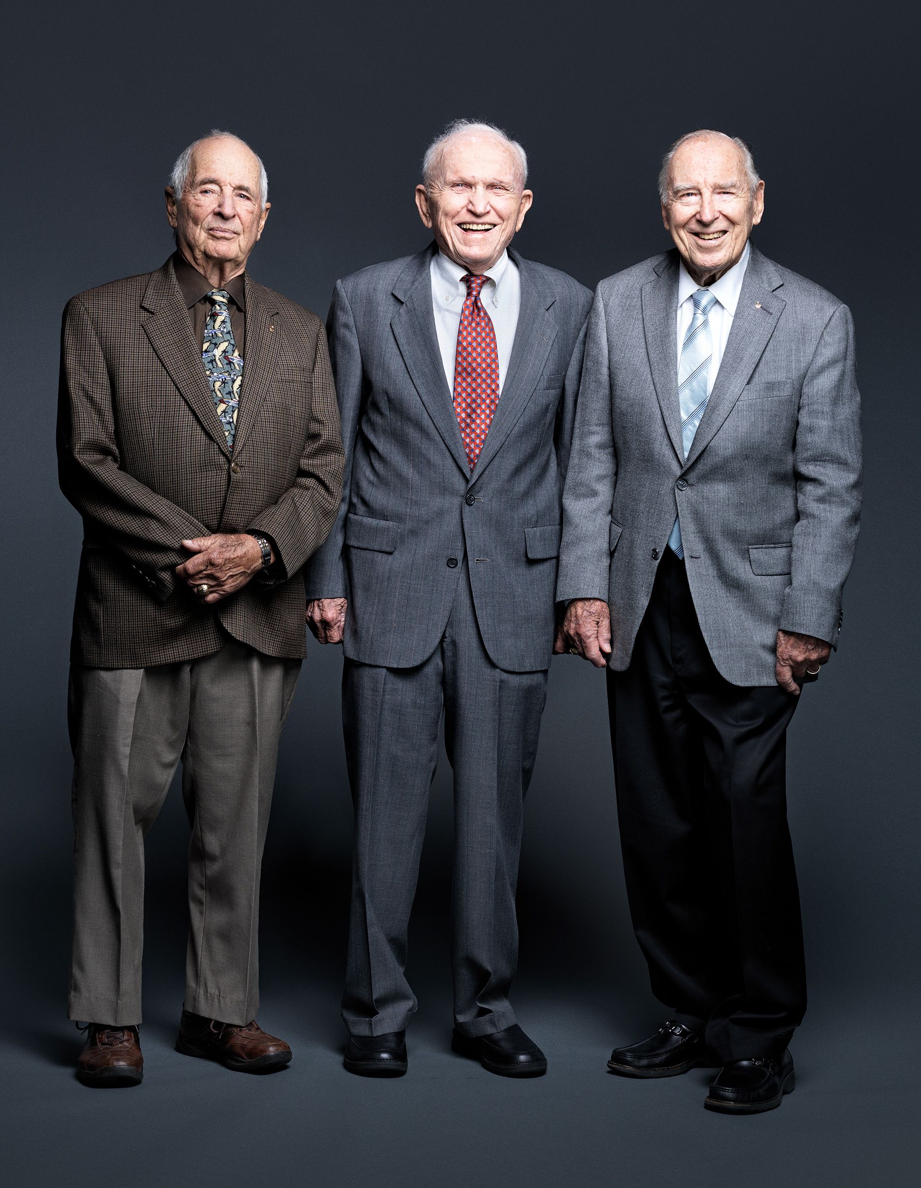 From left: Anders, Borman and Lovell, photographed on Oct. 6, 2018 at the Chicago museum where their Apollo 8 spacecraft is displayed