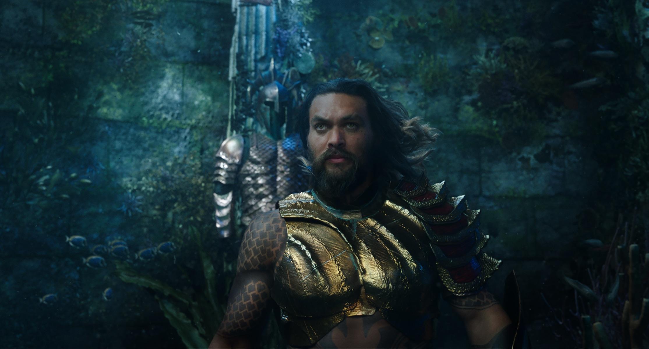 Jason Momoa plays the title role in  Aquaman.