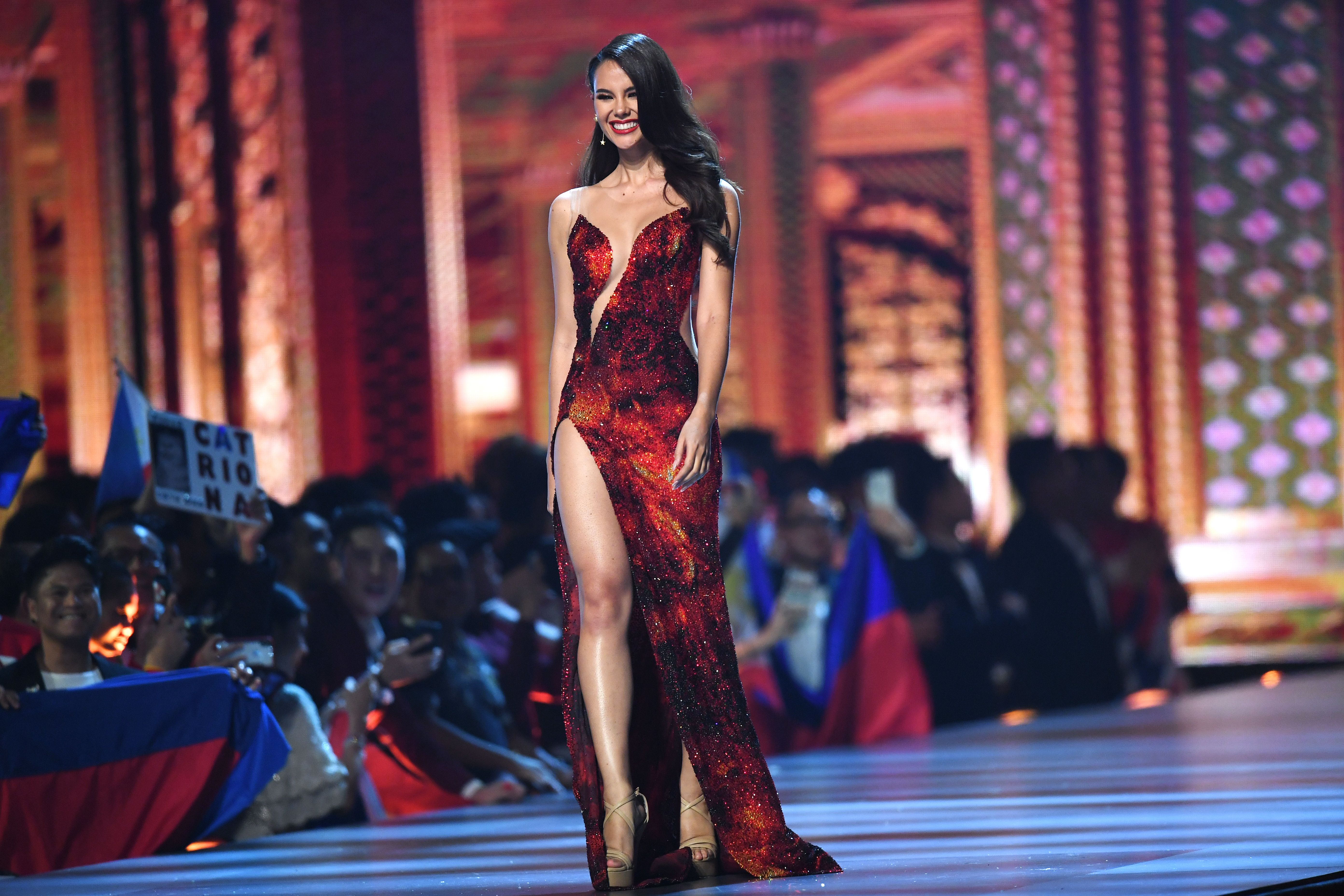 Catriona Gray of the Philippines competes after being selected as top 10 finalist during the 2018 Miss Universe Pageant in Bangkok on December 17, 2018. - Miss Philippines was crowned Miss Universe on December 17 in Bangkok after a trailblazing ceremony praised for featuring its first transgender candidate but marred by gaffes about the English-speaking ability of two Asian contestants. (Photo by Lillian SUWANRUMPHA / AFP)        (Photo credit should read LILLIAN SUWANRUMPHA/AFP/Getty Images)