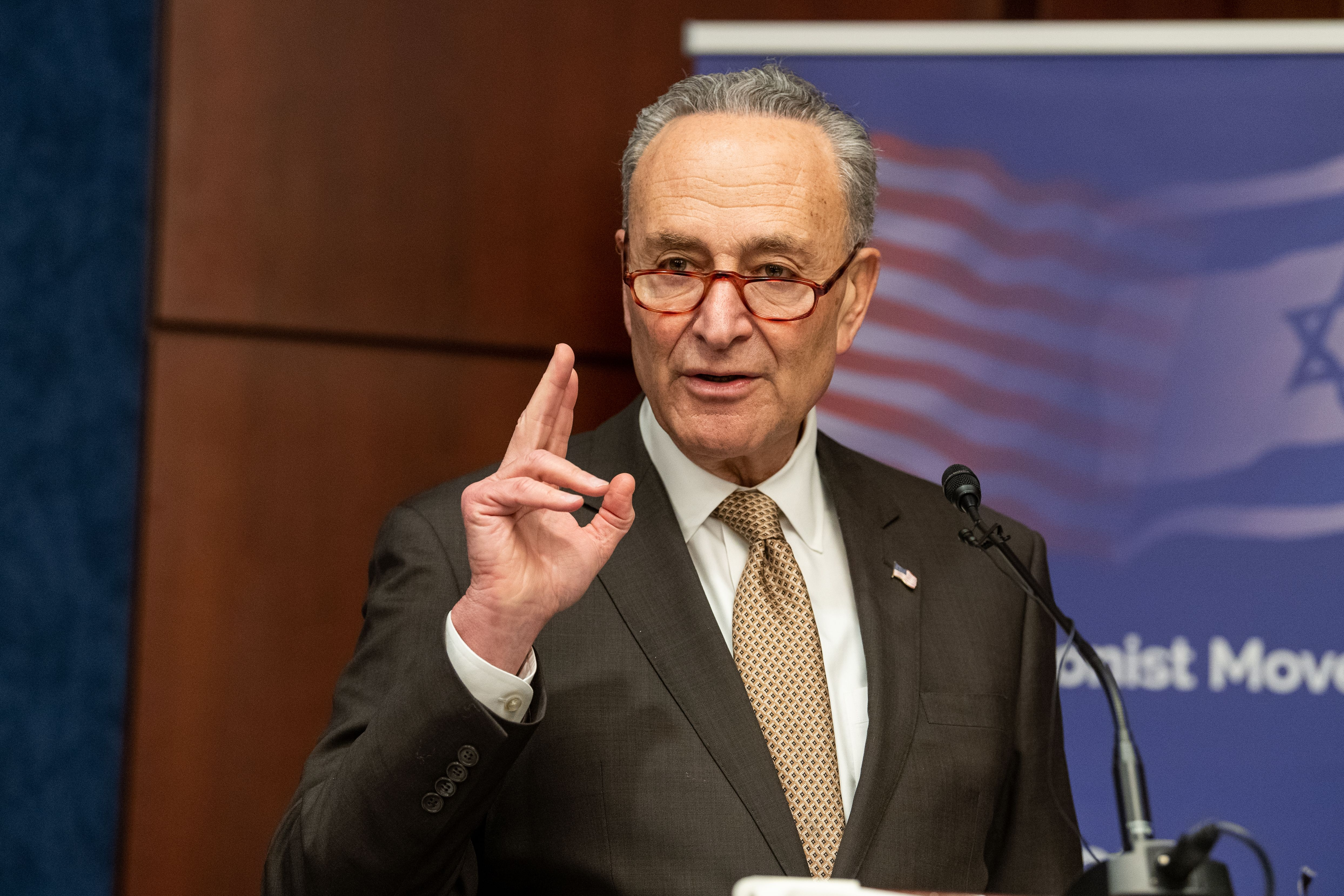 U.S. Senator Chuck Schumer at the American Zionist Movement Washington Forum in Washington, D.C., on Dec. 12, 2018.