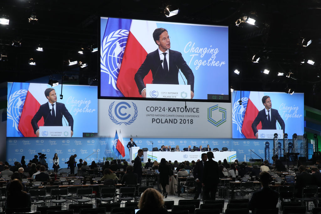Mark Rutte, Prime Minister of Holland, speaks at the opening ceremony of the COP 24 United Nations climate change conference on December 03, 2018 in Katowice, Poland. The two -week conference is taking place in the wake of recent scientific reports that point to an even more dire situation of global warming and its consequences.