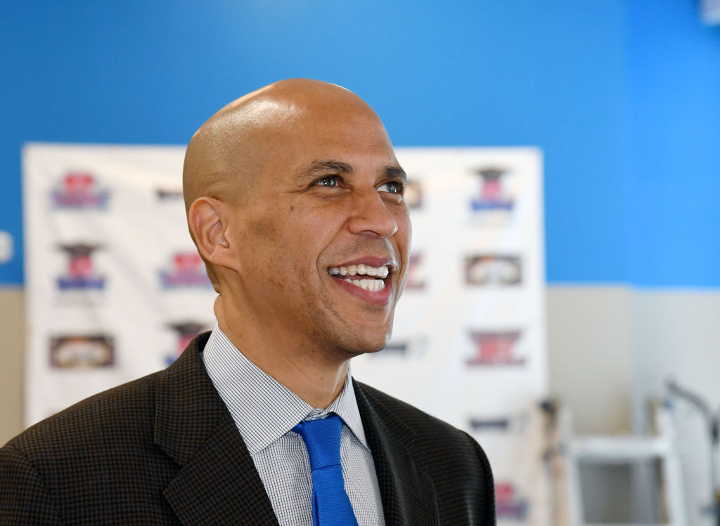 U.S. Sen. Cory Booker visits Masterpiece Barber College on October 24, 2018 in Las Vegas, Nevada. On Feb. 1, 2019, he announced that he was running for President of the United States in 2020. Ethan Miller—Getty Images