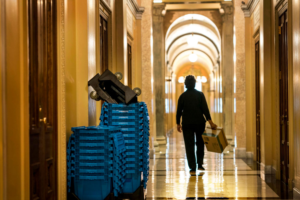 On day 6 of the partial government shutdown boxes and furniture wait to be moved from Republican to Democratic offices in the US Capitol building on Capitol Hill in Washington DC on Dec. 27, 2018.