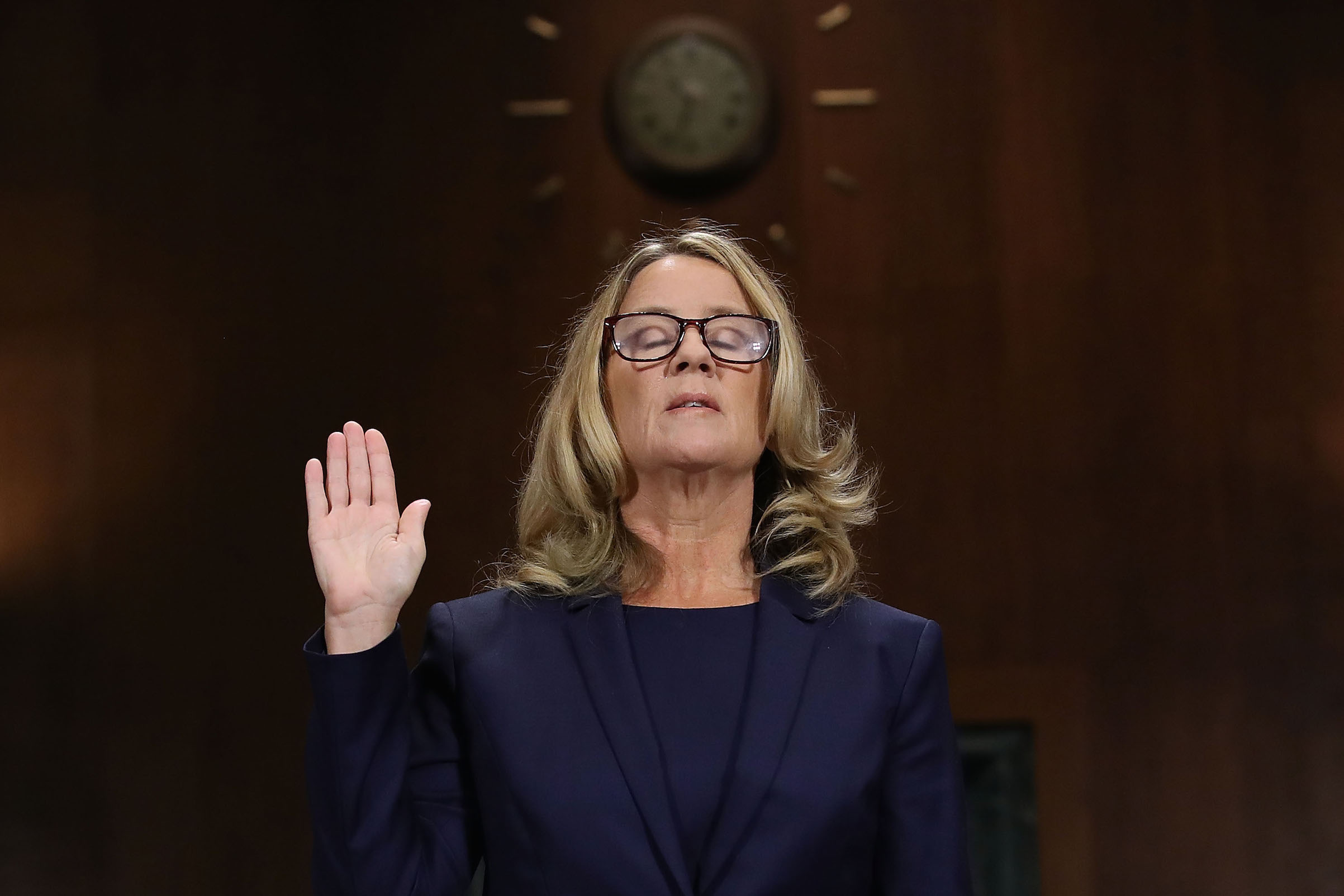 Christine Blasey Ford testifies before the Senate Judiciary Committee in the Dirksen Senate Office Building on Capitol Hill Sept. 27, 2018 in Washington, D.C.