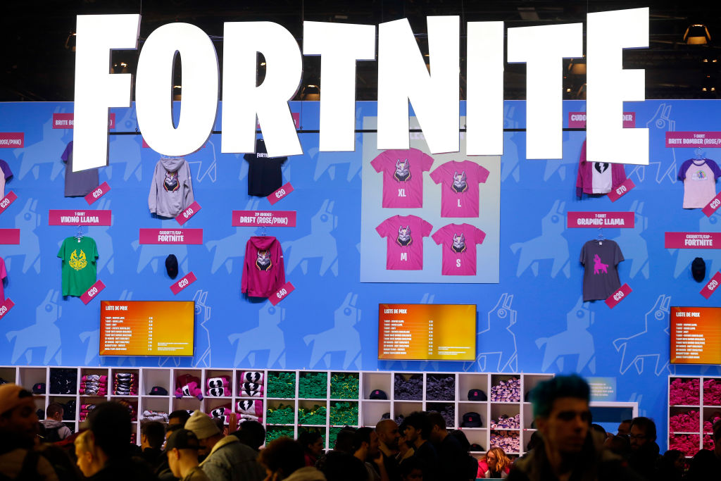 The logo of the video game 'Fortnite,' developed by Epic Games, is displayed during the 'Paris Games Week' on October 28, 2018 in Paris, France.