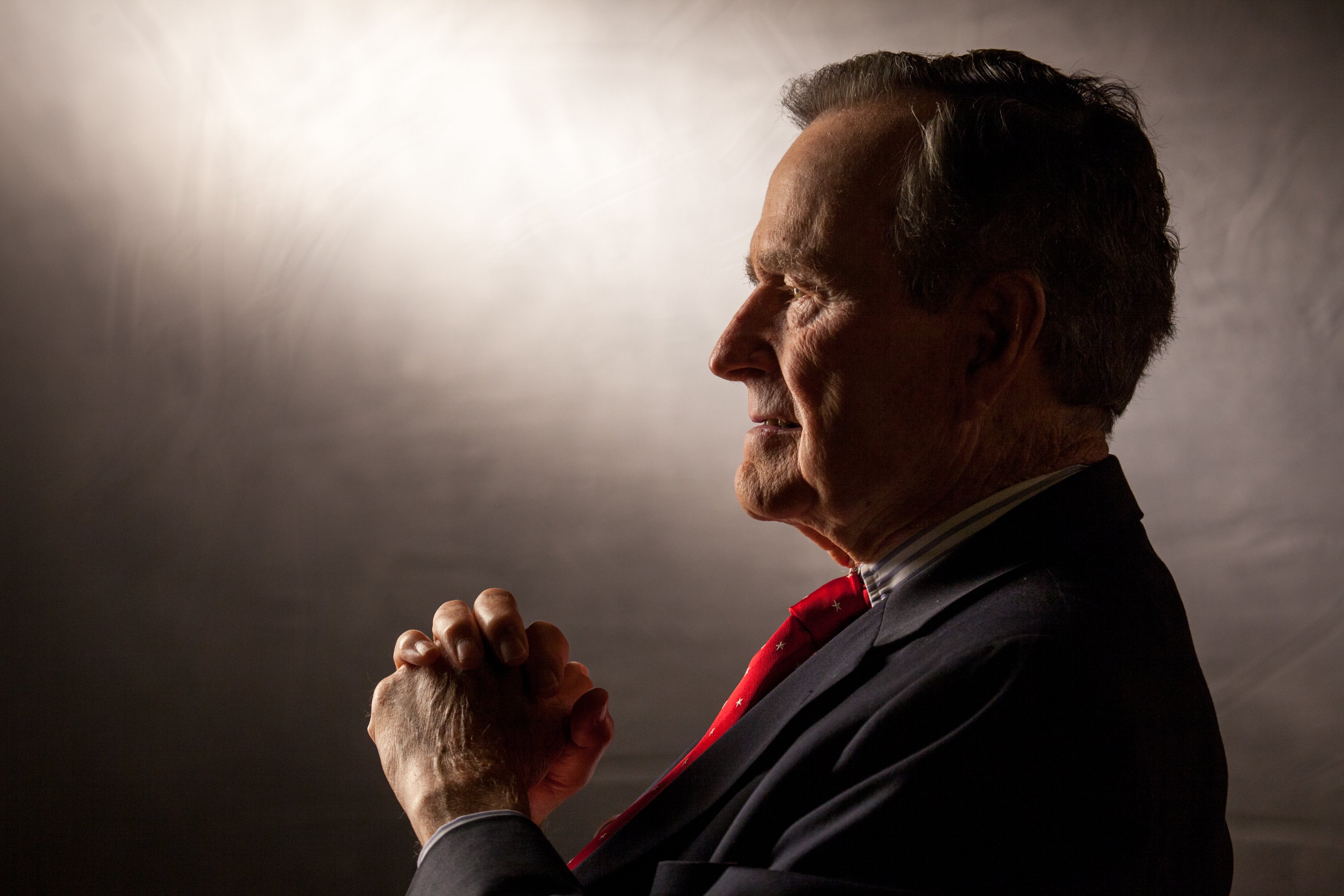 Former President George H.W. Bush is interviewed for 'The Presidents' Gatekeepers' project about the White House Chiefs of Staff at the Bush Library, October 24, 2011, in College Station, Texas.