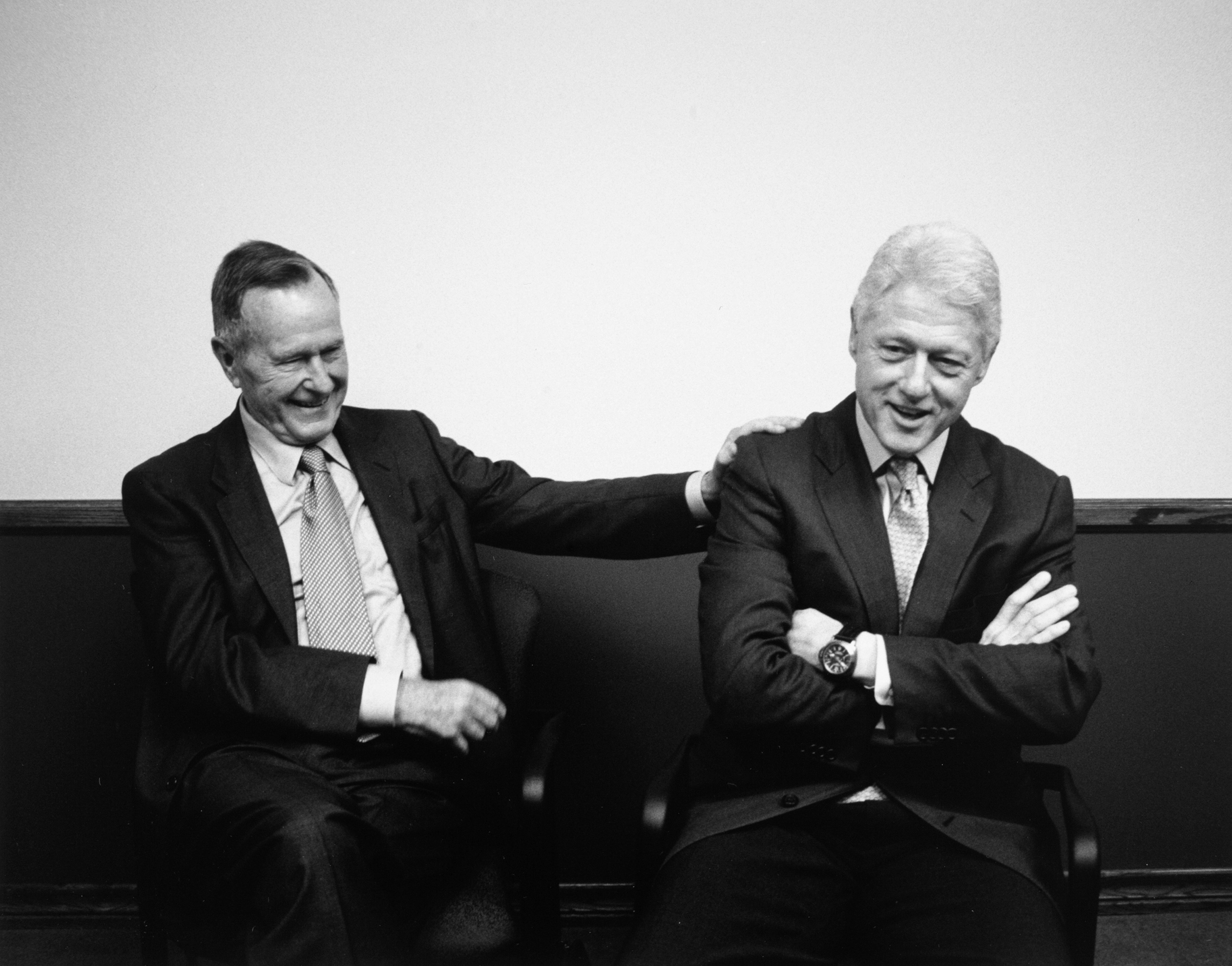 Behind the scenes with former Presidents George H.W. Bush and Bill Clinton coming together to raise money for Katrina  at the University of New Orleans, 2005.