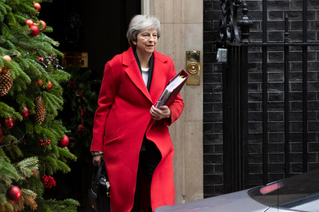 British Prime Minister Theresa May leaves number 10 Downing Street on December 5, 2018 in London, England.