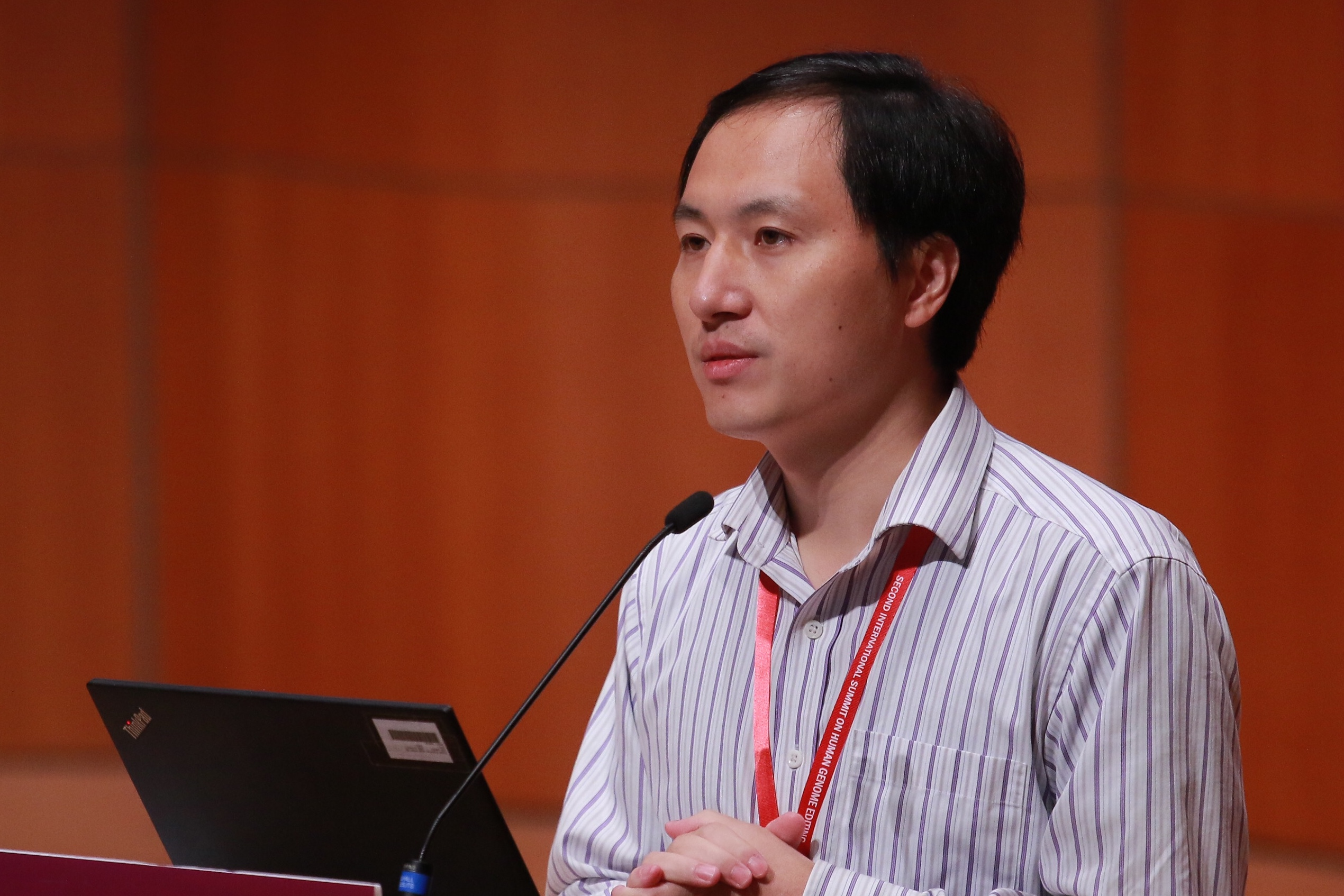 Biological researcher He Jiankui speaks on day two of the Second International Summit on Human Genome Editing at the University of Hong Kong (HKU) on November 28, 2018 in Hong Kong, China.