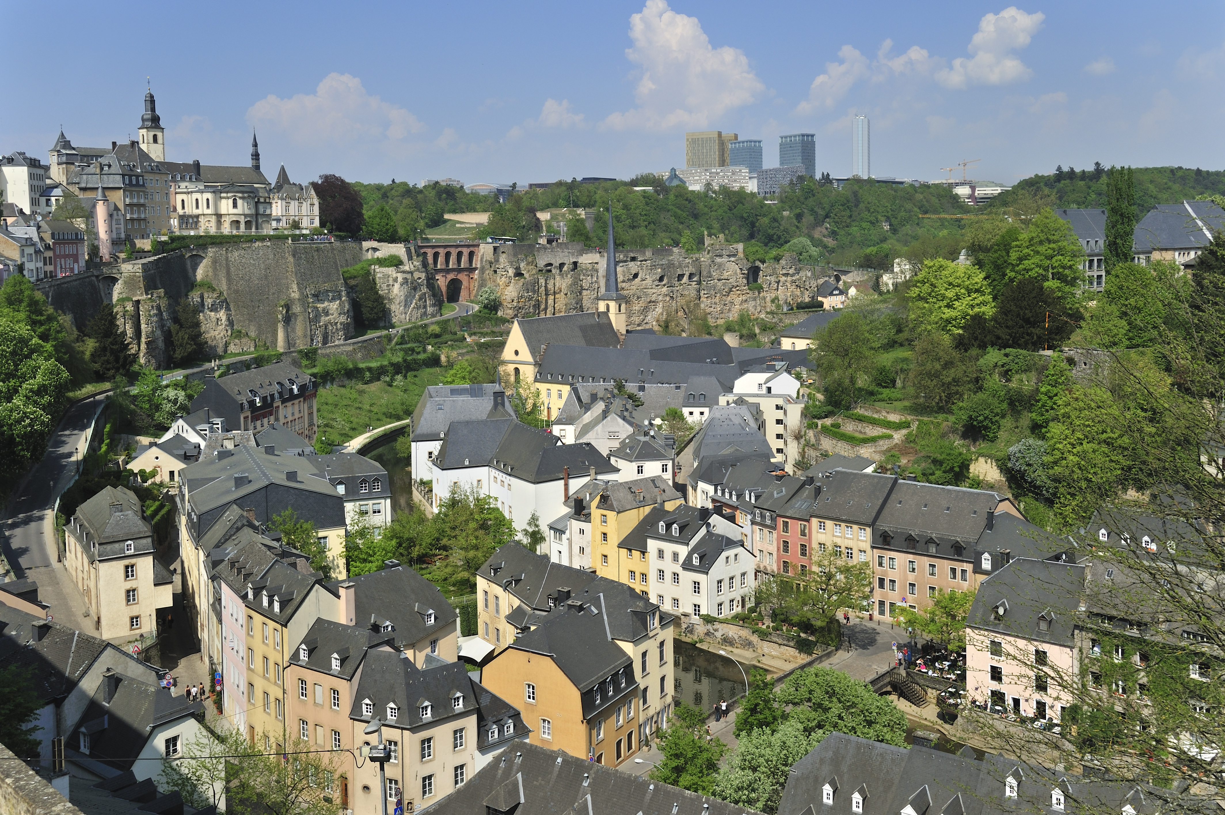 View over the Grund quarter at Luxembourg, Luxembourg.