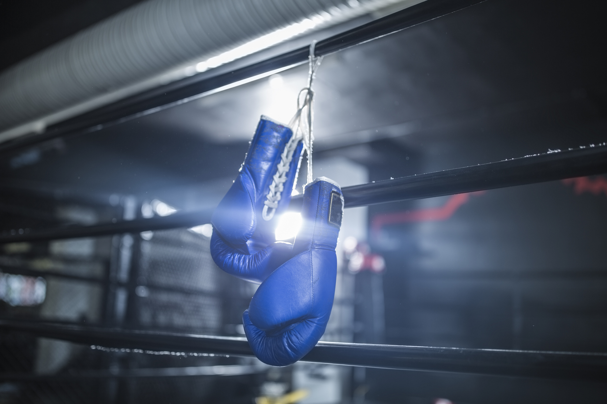 Cape Town, South Africa, blue boxing gloves hanging in boxing ring