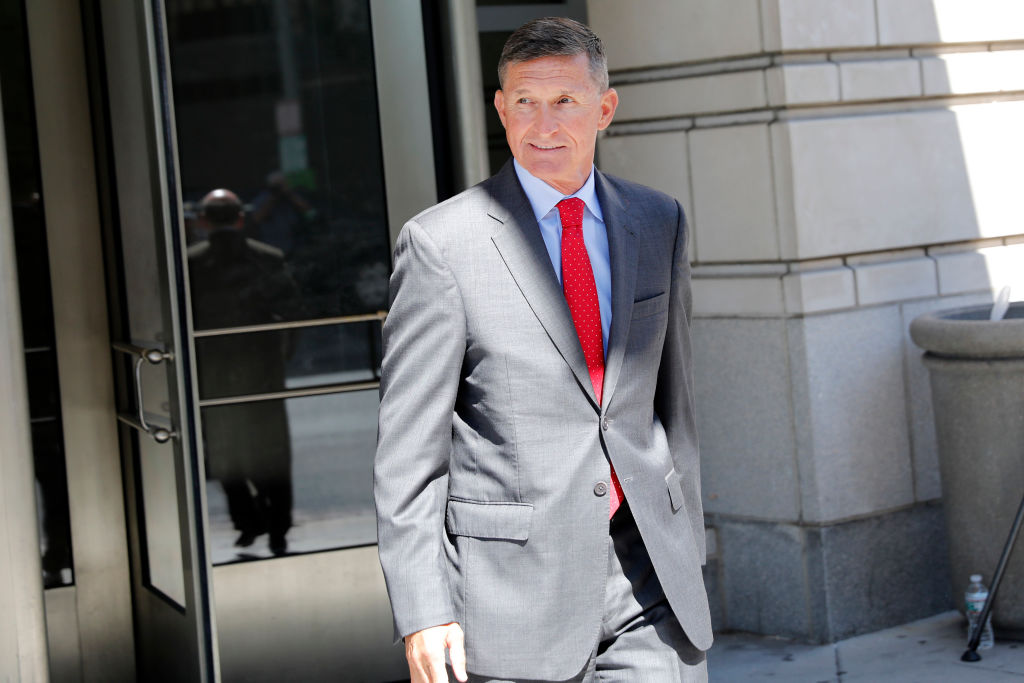 Michael Flynn, former National Security Advisor to President Donald Trump, departs the E. Barrett Prettyman United States Courthouse following a pre-sentencing hearing July 10, 2018 in Washington, DC.