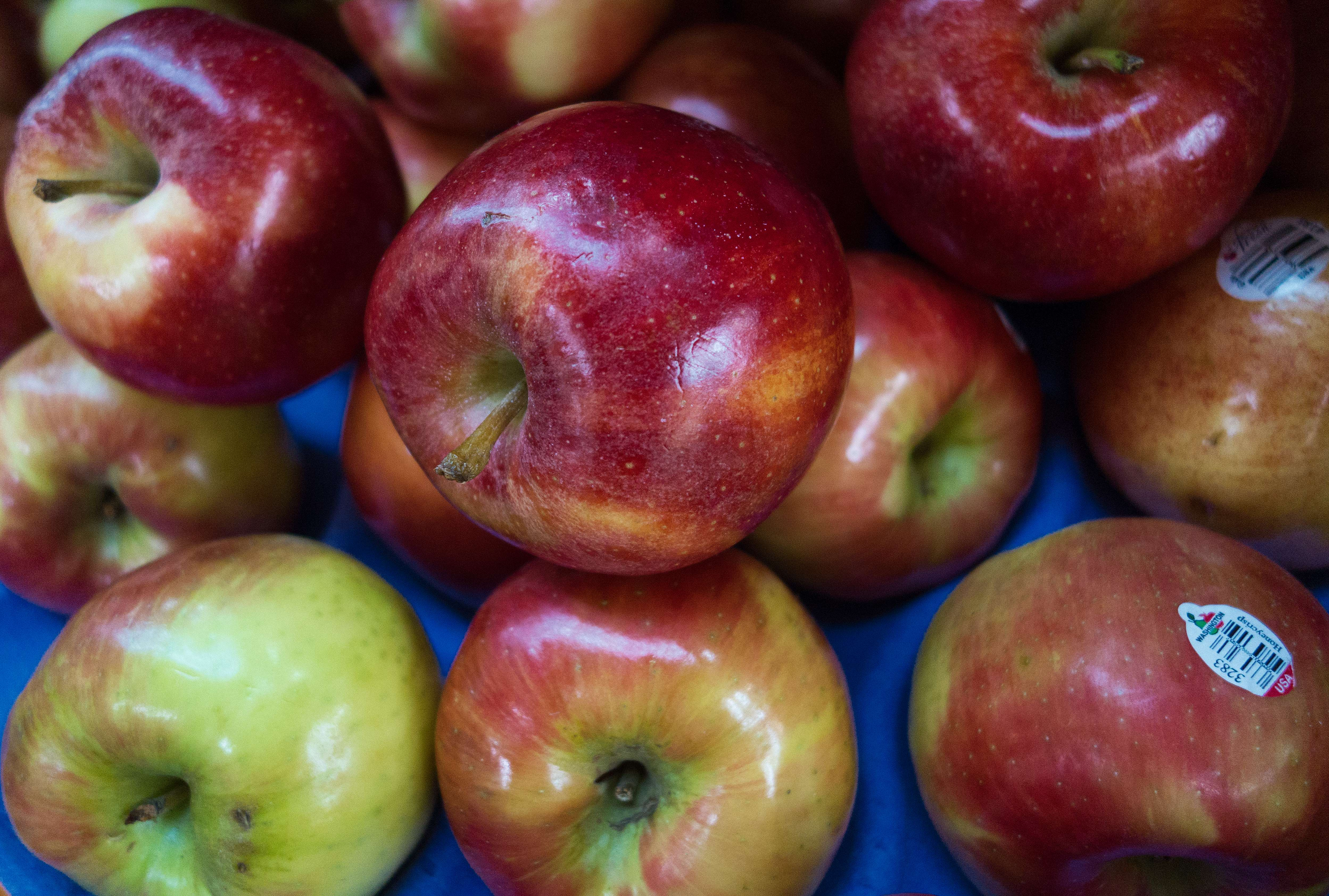 Honeycrisp Apples are seen for sale at the Eastern Market on February 25, 2014, in Washington, DC.