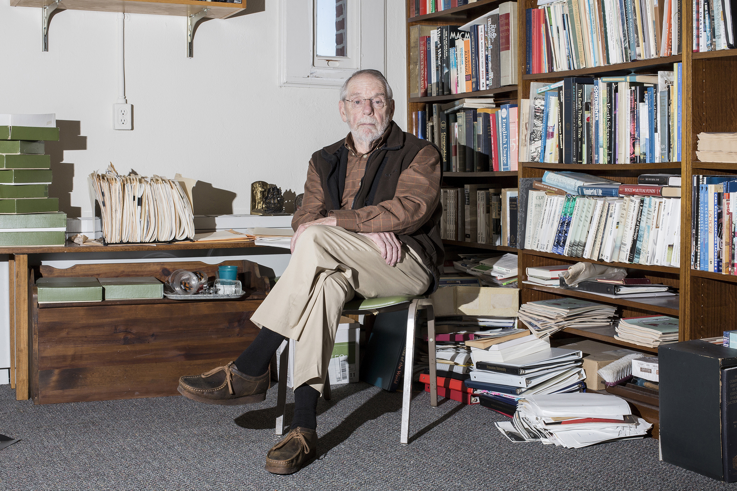 Writer John McPhee poses for a portrait in his office at Princeton University in Princeton, N.J.