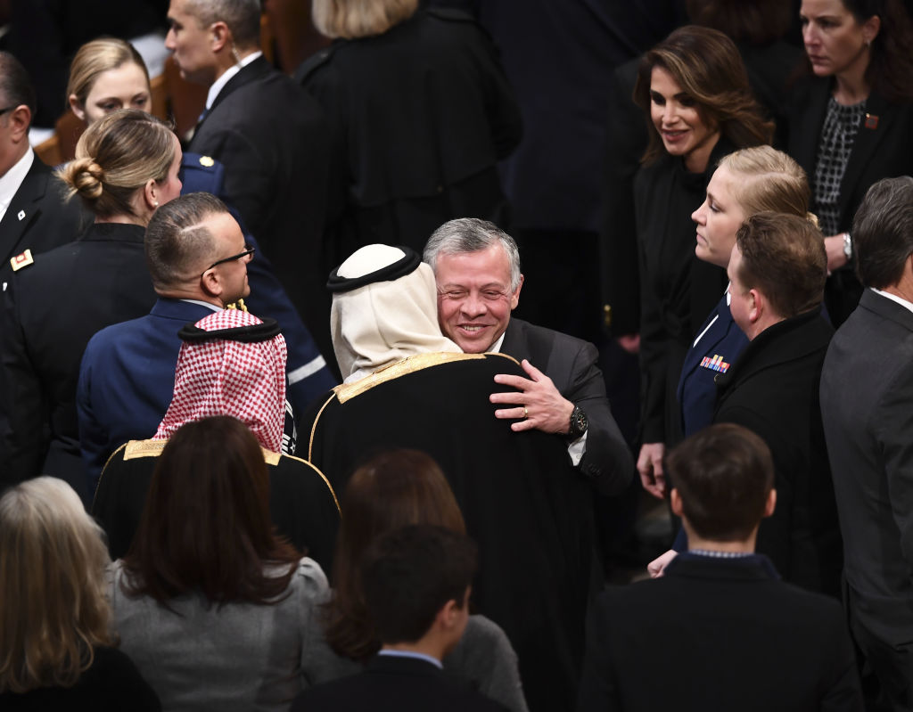 Jordan's King Abdullah II and Queen Rania arrive before the funeral service for former US President George H. W. Bush at the National Cathedral in Washington, DC on December 5, 2018.