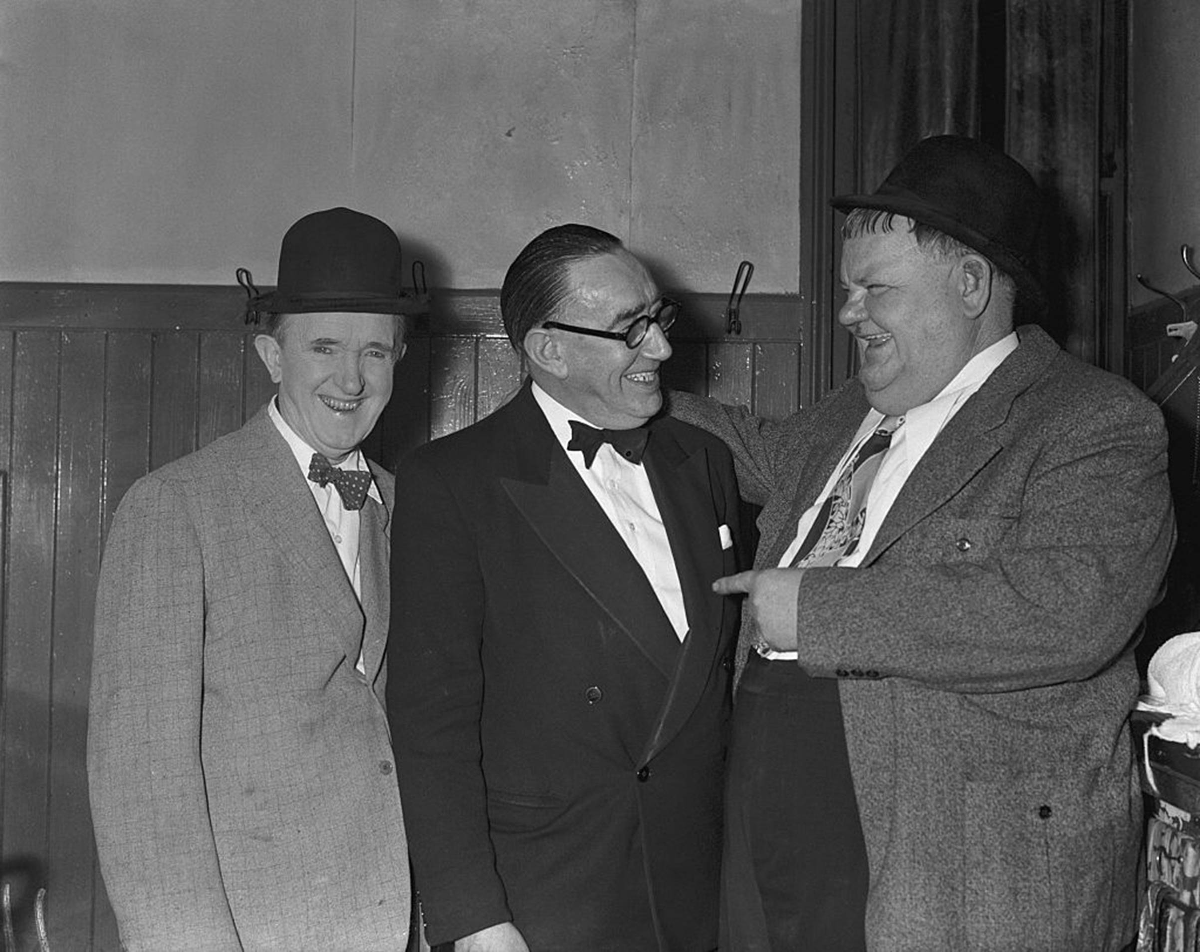 Stan Laurel (left) and Oliver Hardy (right) shortly after performing at the Empire theater in Nottingham, England, in Aug. 1953 during their U.K. tour.
