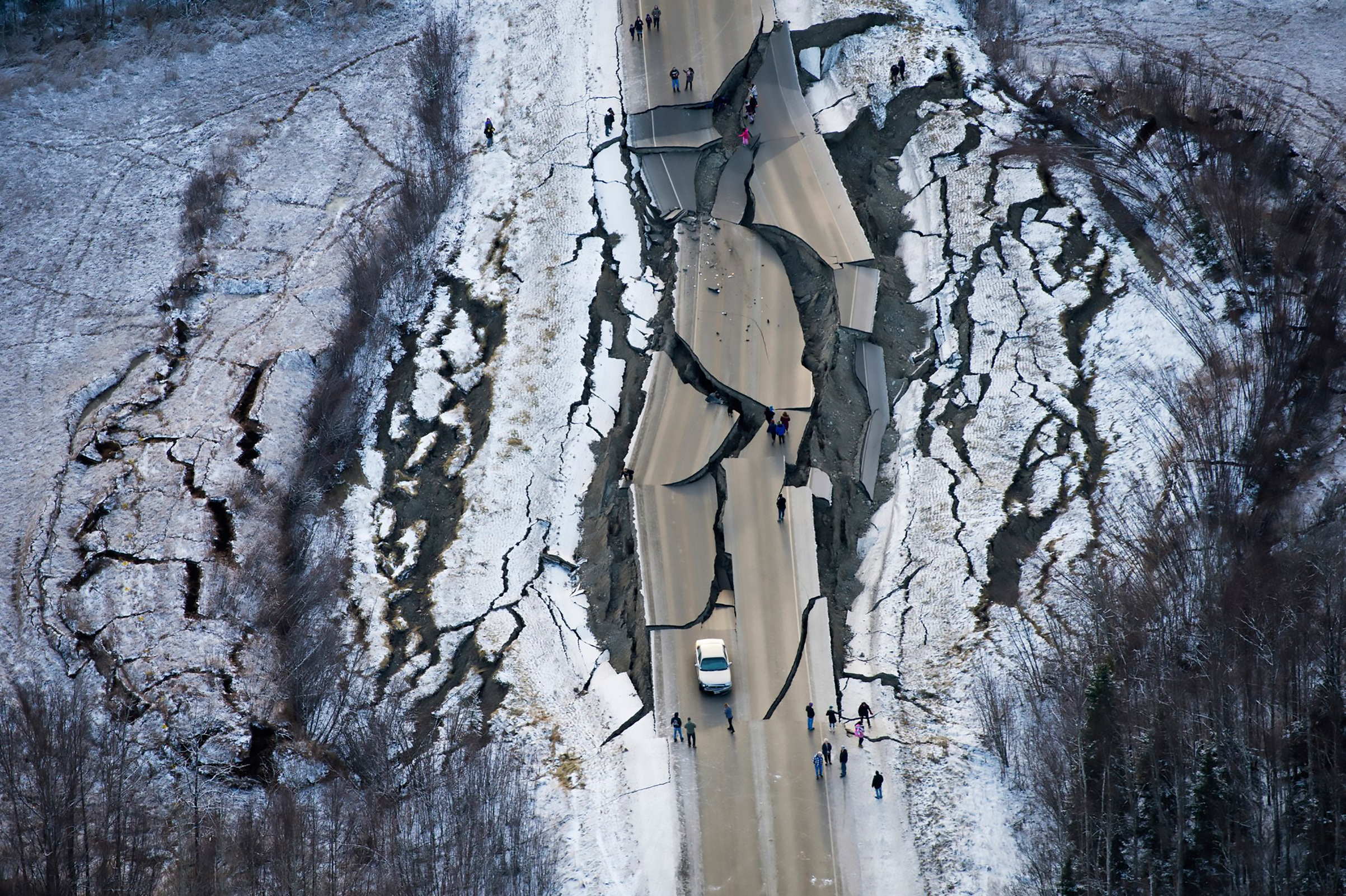 Earthquake damage on Vine Road, near Wasilla, Alaska, on Nov. 30, 2018.