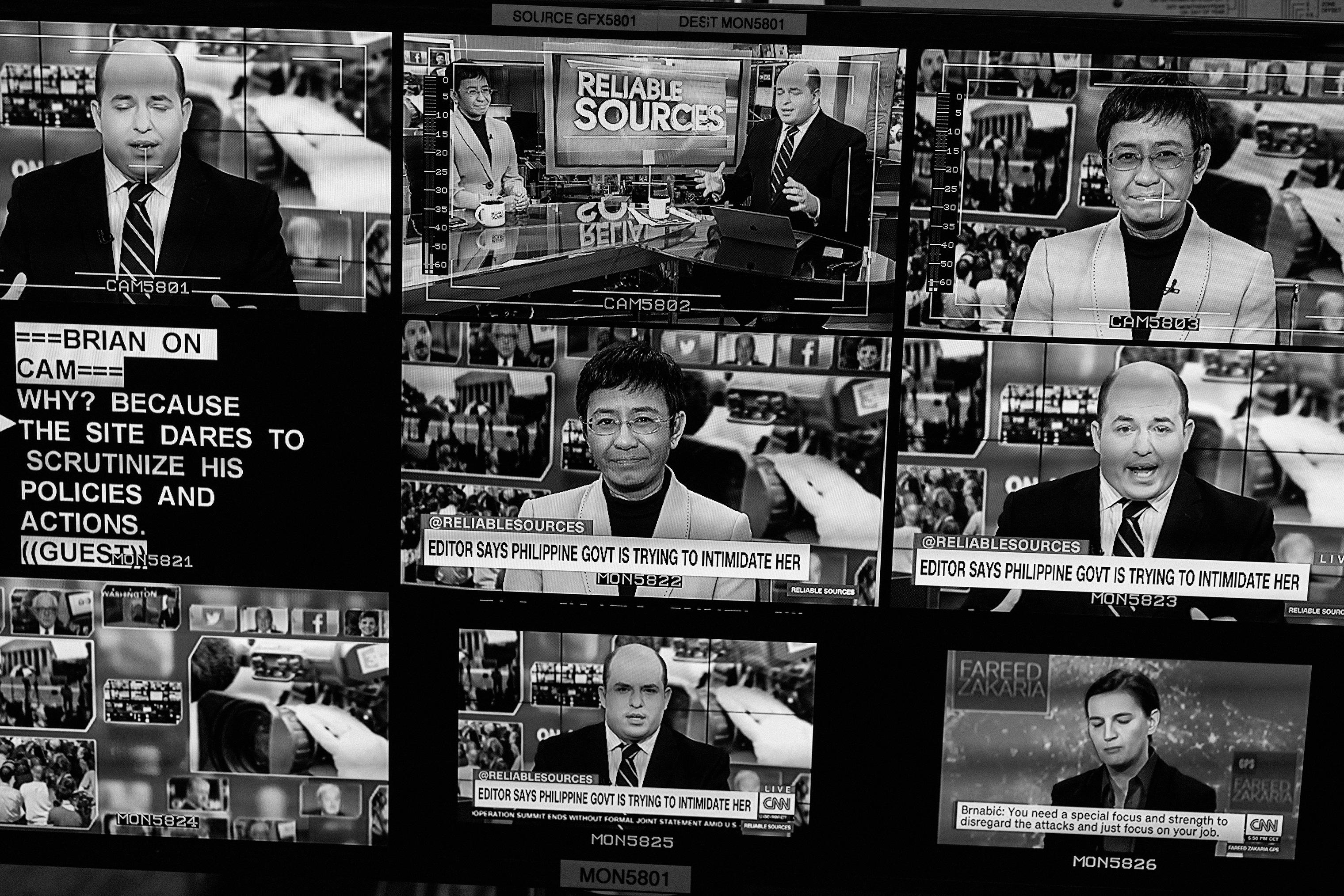 Maria Ressa appears onscreen at CNN in New York City on Saturday, November 17, 2018.