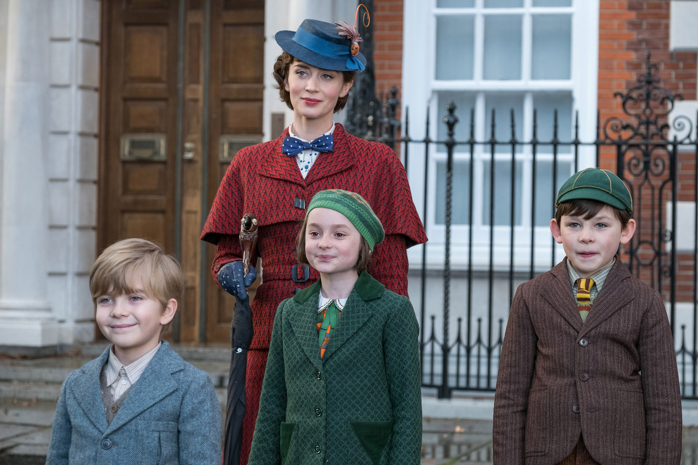 Emily Blunt as Mary Poppins, Joel Dawson as Georgie, Pixie Davies as Annabel and Nathanael Saleh as John in 'Mary Poppins Returns .