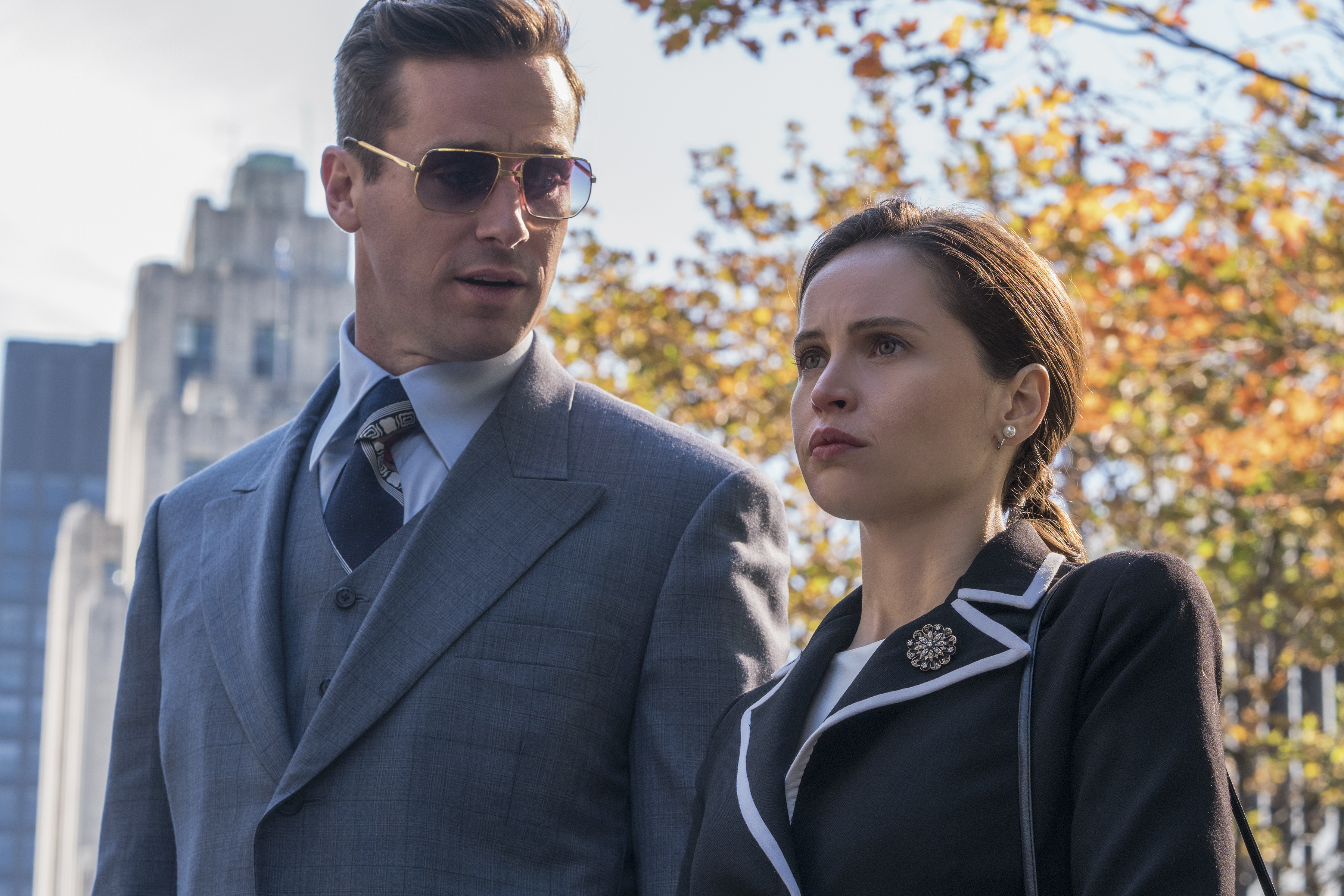 Armie Hammer as Marty Ginsburg and Felicity Jones as Ruth Bader Ginsburg.
