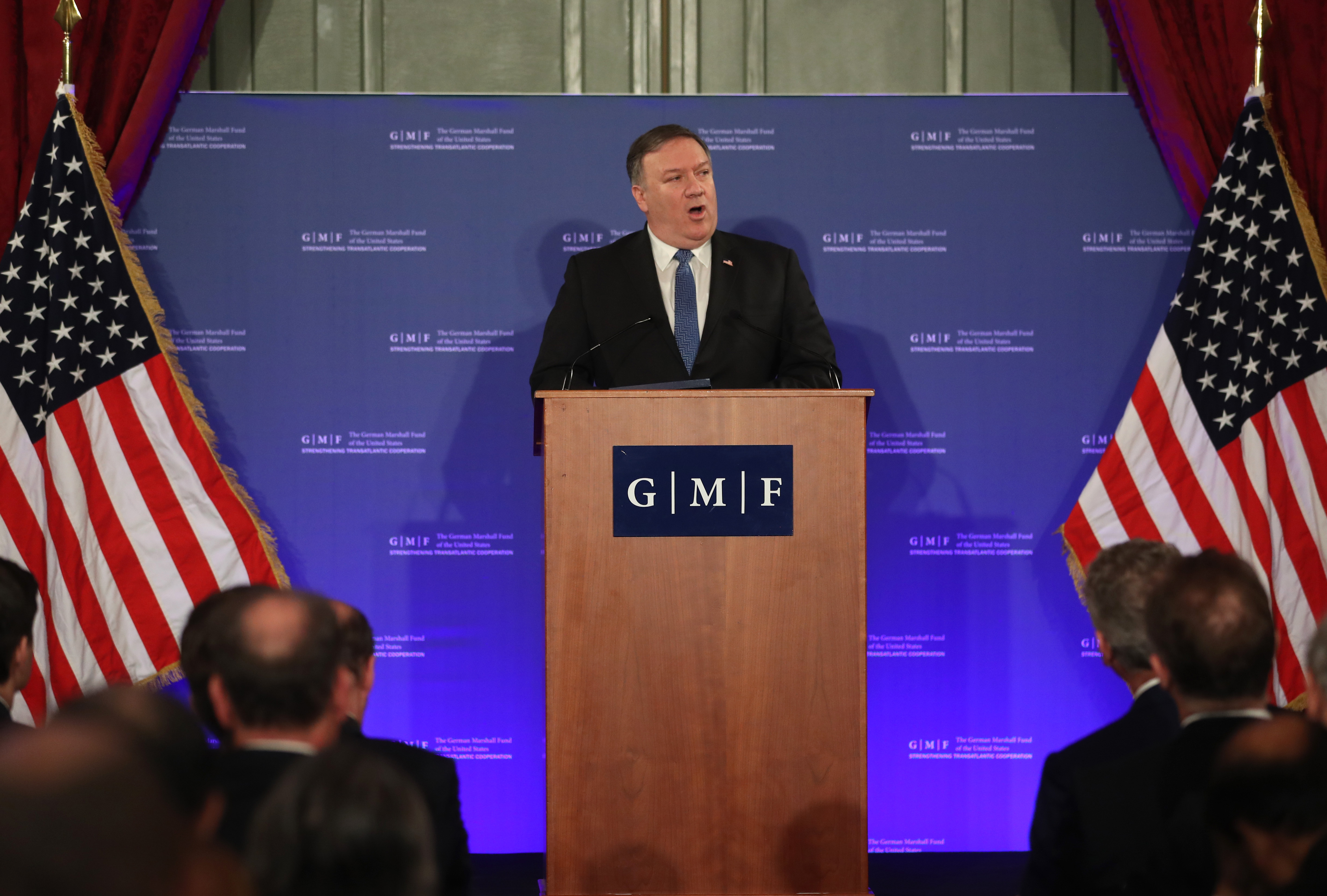 Secretary of State Mike Pompeo speaks during an event at the Concert Noble in Brussels, Belgium, on Dec. 4, 2018.
