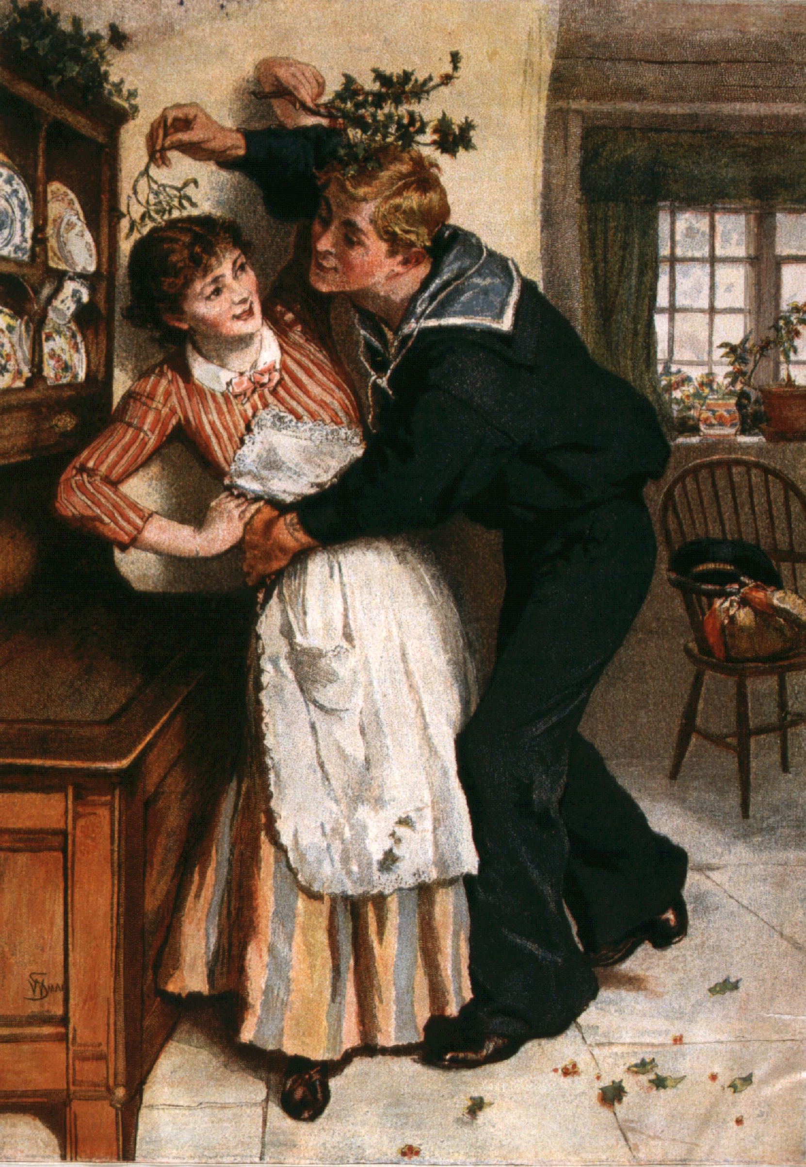 circa 1890:  A sailor tries to kiss a young woman under a sprig of mistletoe.  William Small.