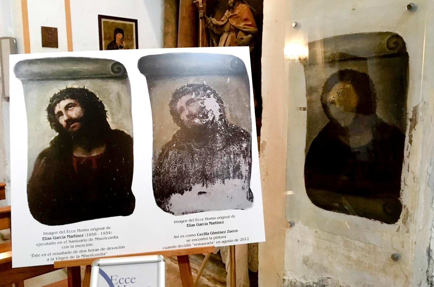View of the deteriorated version of 'Ecce Homo' mural by 19th century painter Elias Garcia Martinez, right, next to a copy of the original, left, at the Borja Church in Zaragoza, Spain.