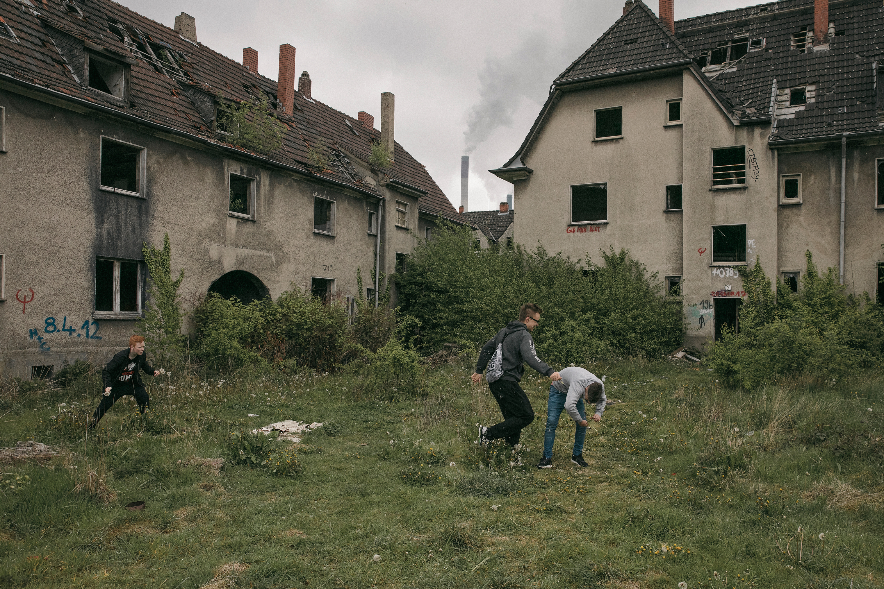 Children of Polish migrant workers play in an abandoned mining settlement in Gladbeck, not far from the mine.