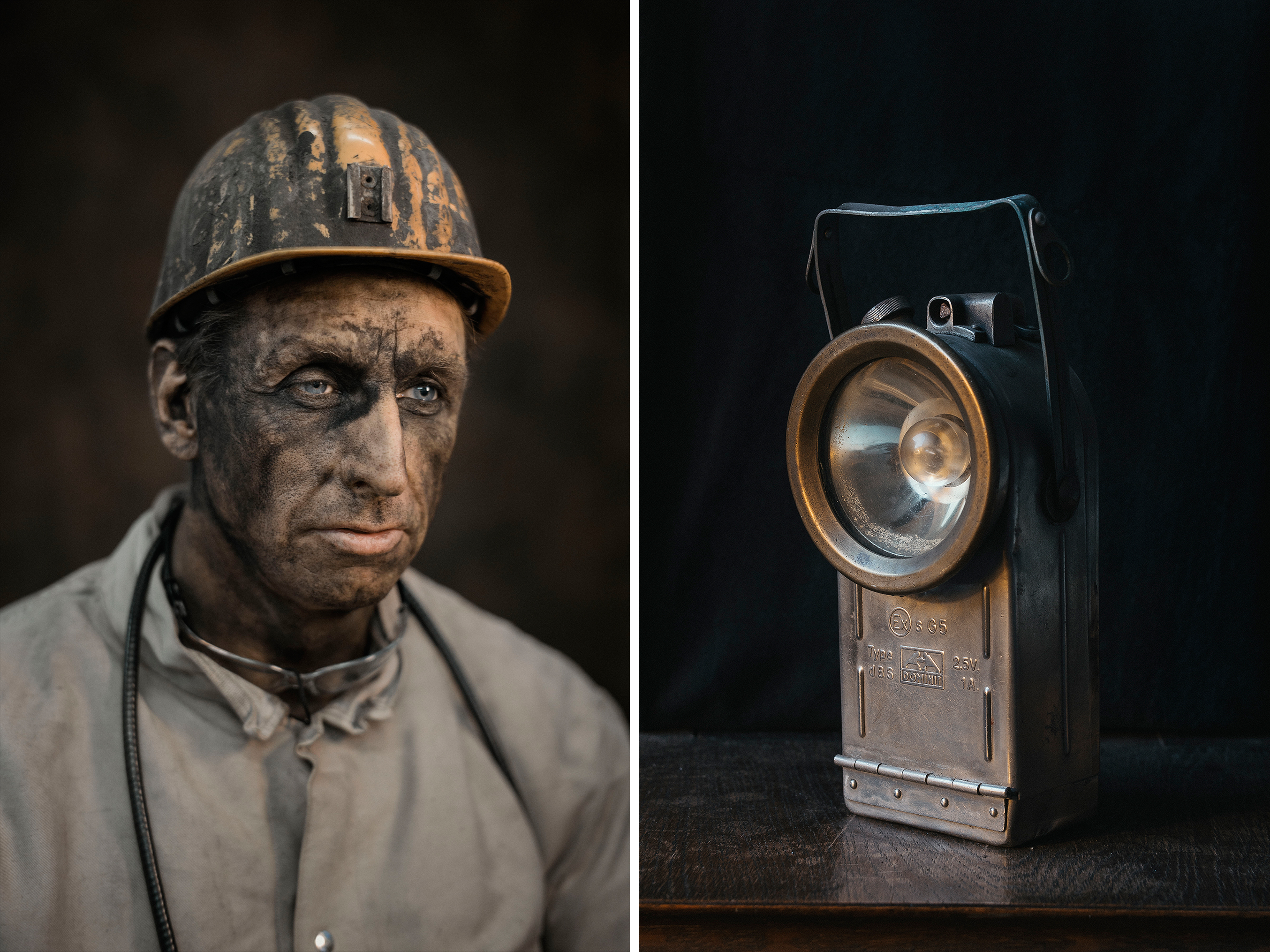 Mike Pallenberg, a supervisor, in February; an old pit lamp, designed to operate in air that may contain dust or gas.
