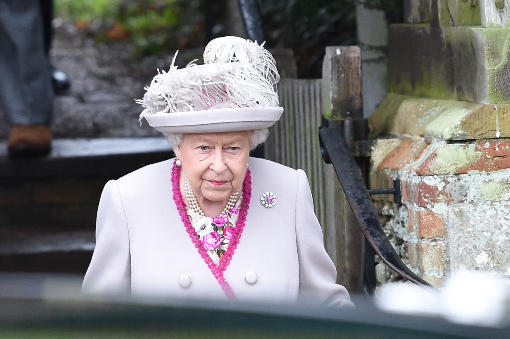 Britain's Queen Elizabeth II departs the Royal Family's traditional Christmas Day service at St Mary Magdalene Church in Sandringham, Norfolk, eastern England, on December 25, 2018.