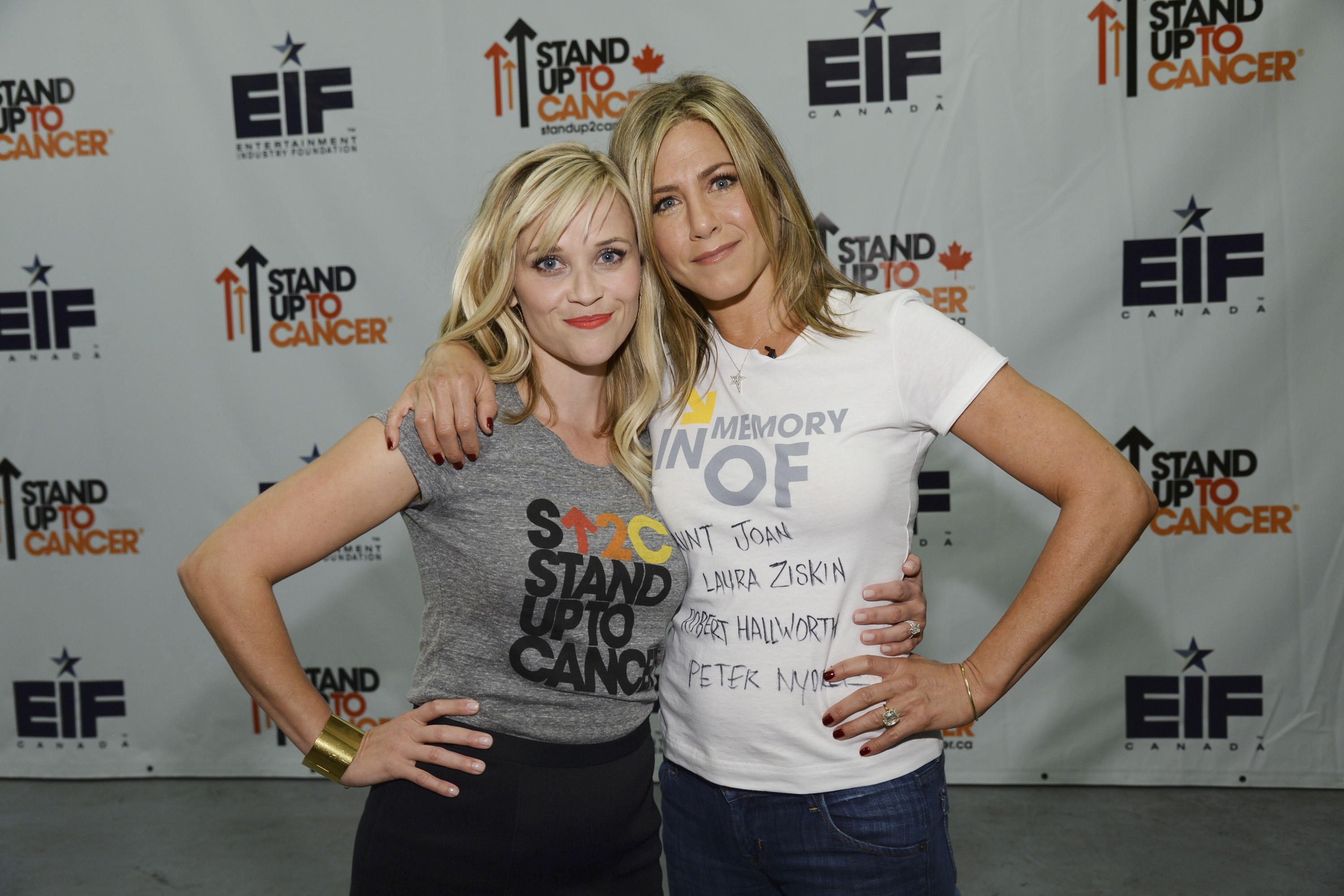 Reese Witherspoon and Jennifer Aniston attend Stand Up To Cancer (SU2C), a program of the Entertainment Industry Foundation (EIF)